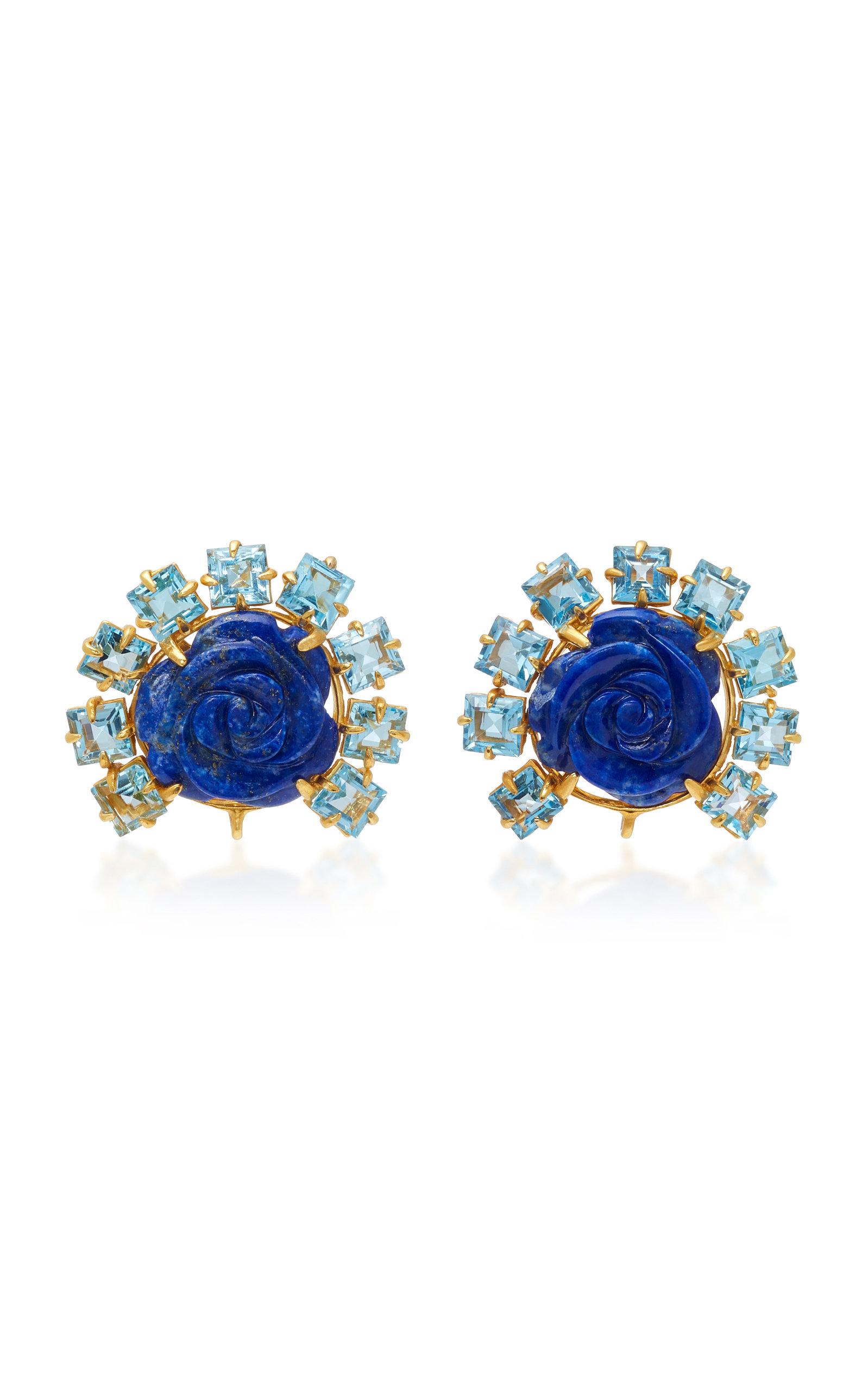 Lapis and Quartz Rose Drop Earrings Bounkit hjLVu