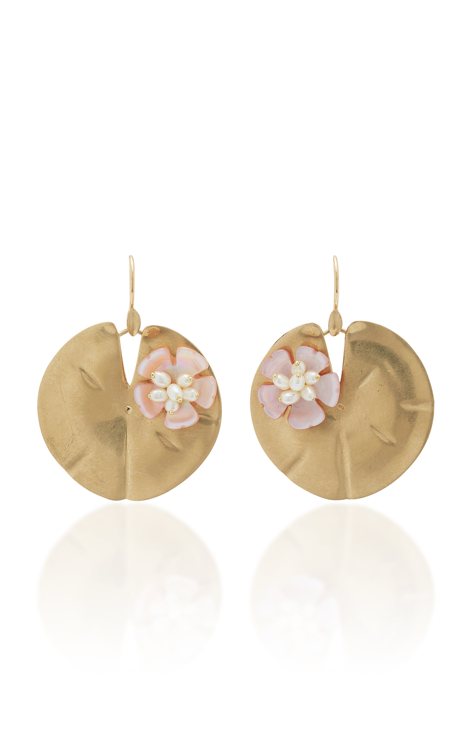 ANNETTE FERDINANDSEN Lily Pad 14K Gold And Pearl Earrings