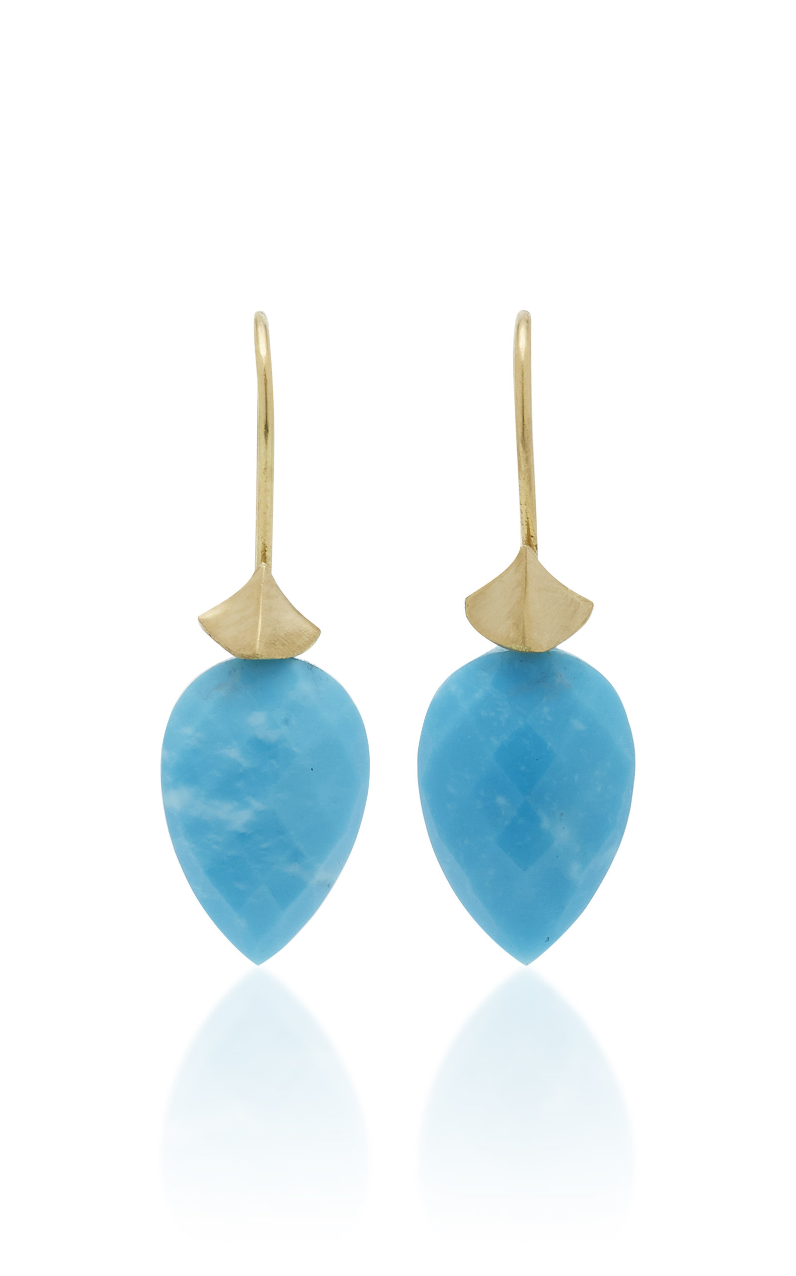 LARGE SIMPLE BUG 18K GOLD TURQUOISE EARRINGS