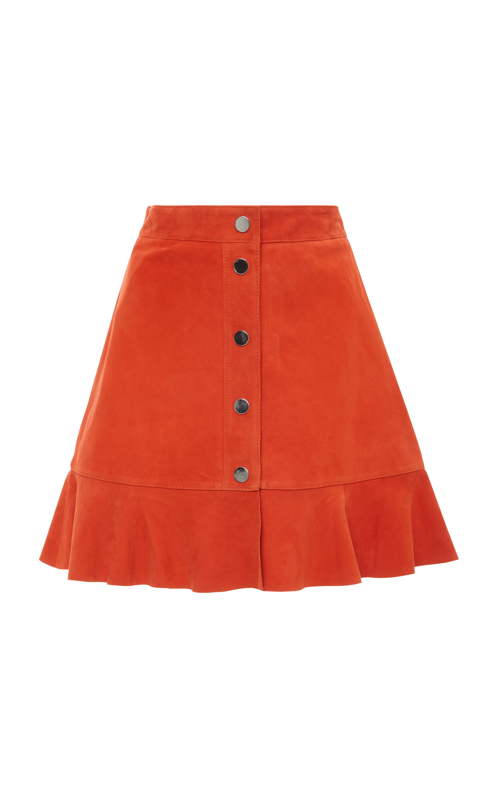 Salvia Button Front Suede Mini Skirt, Orange
