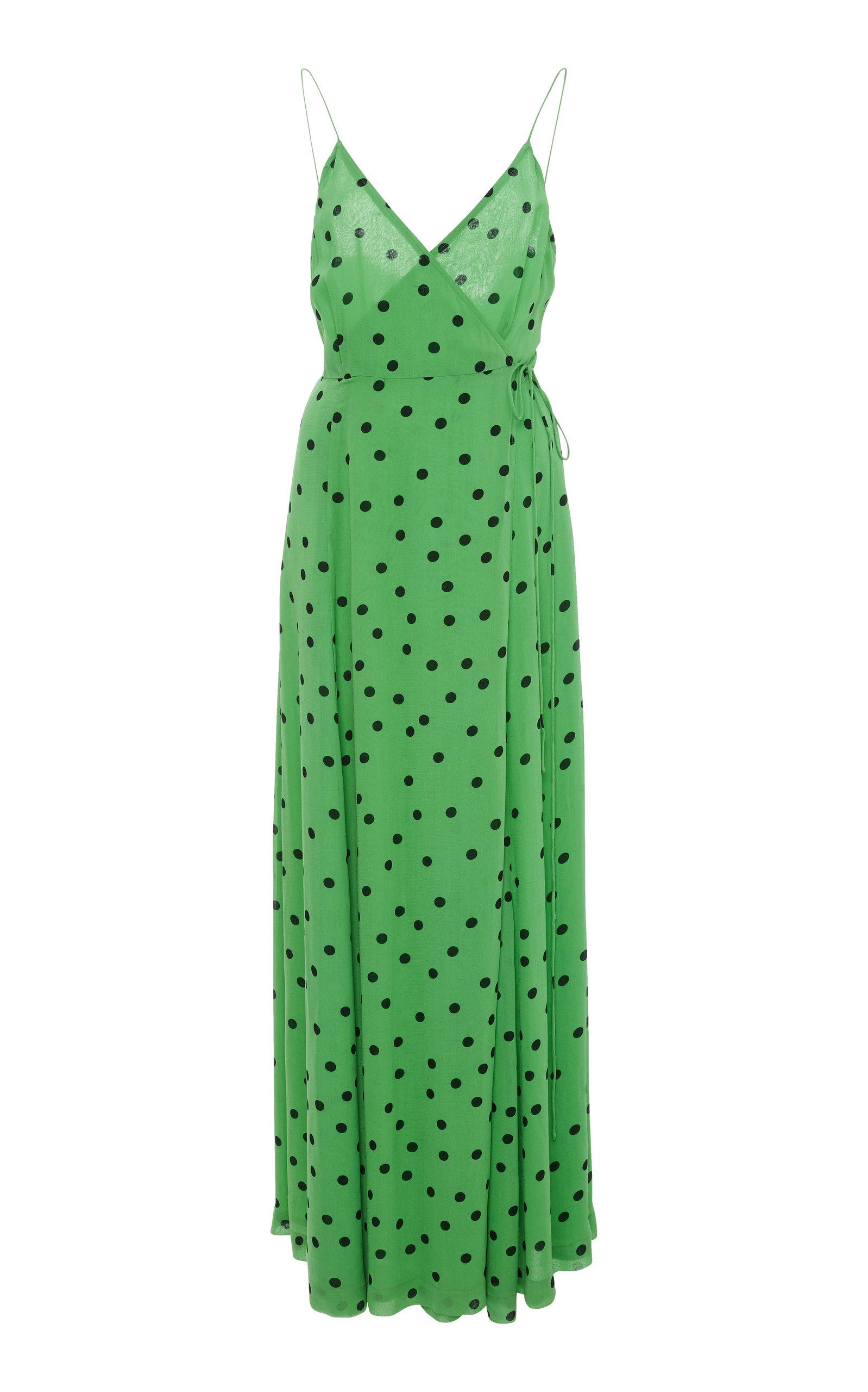 Sleeveless Polka Dot Wrap Dress by Ganni