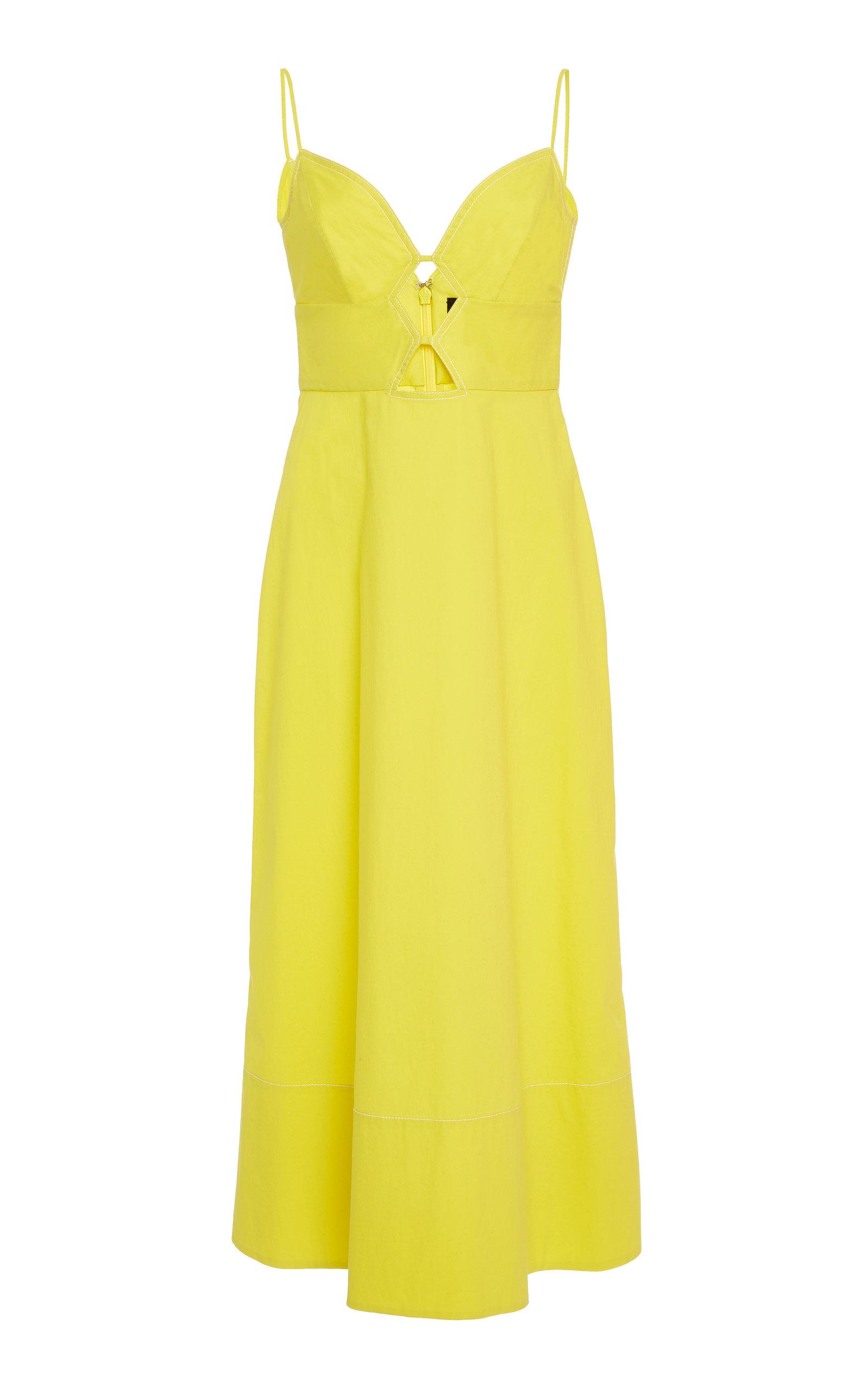 SALONI Jana Cutout Midi Dress in Bright Lemon