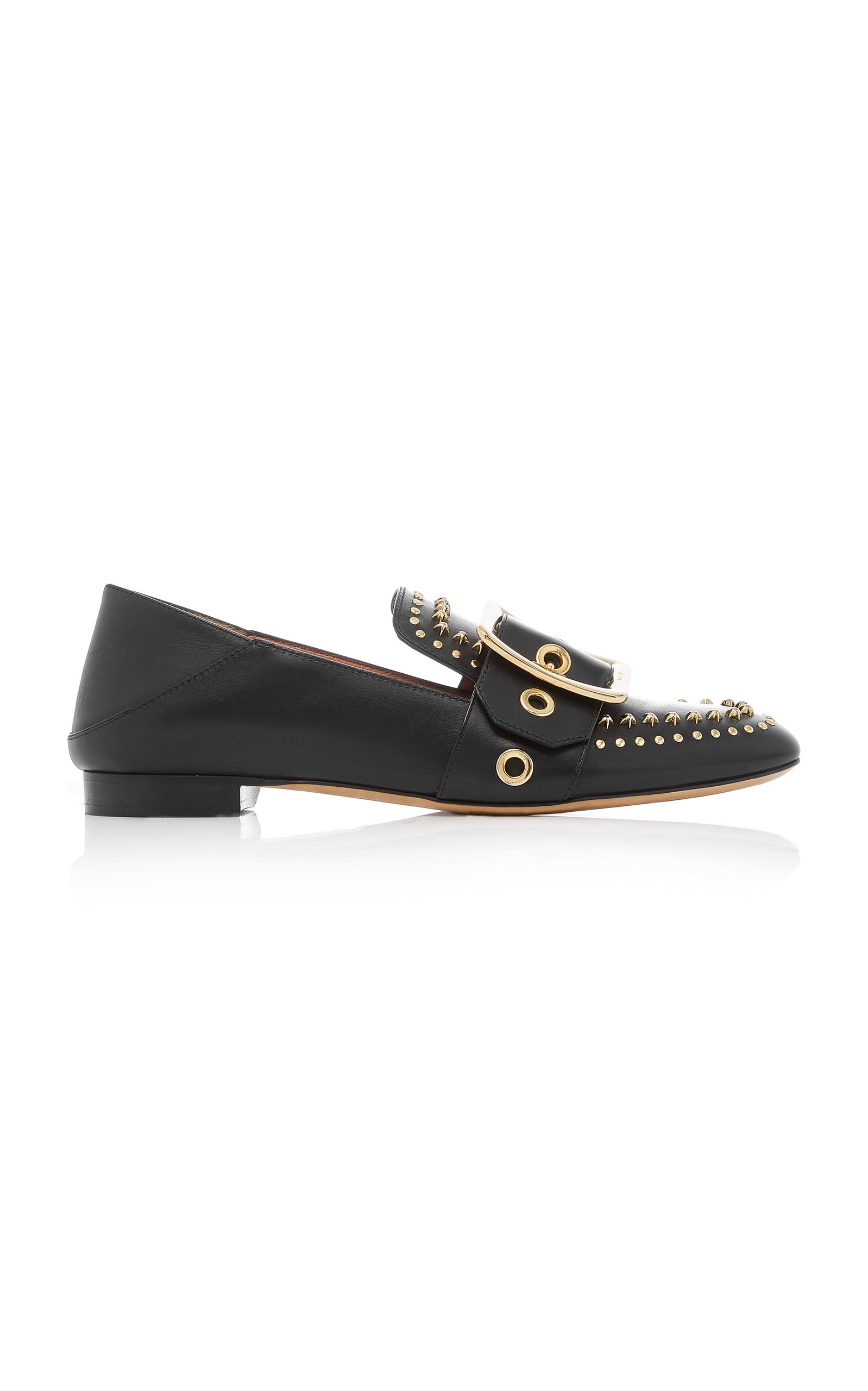 Janelle Studded Leather Slippers in Black