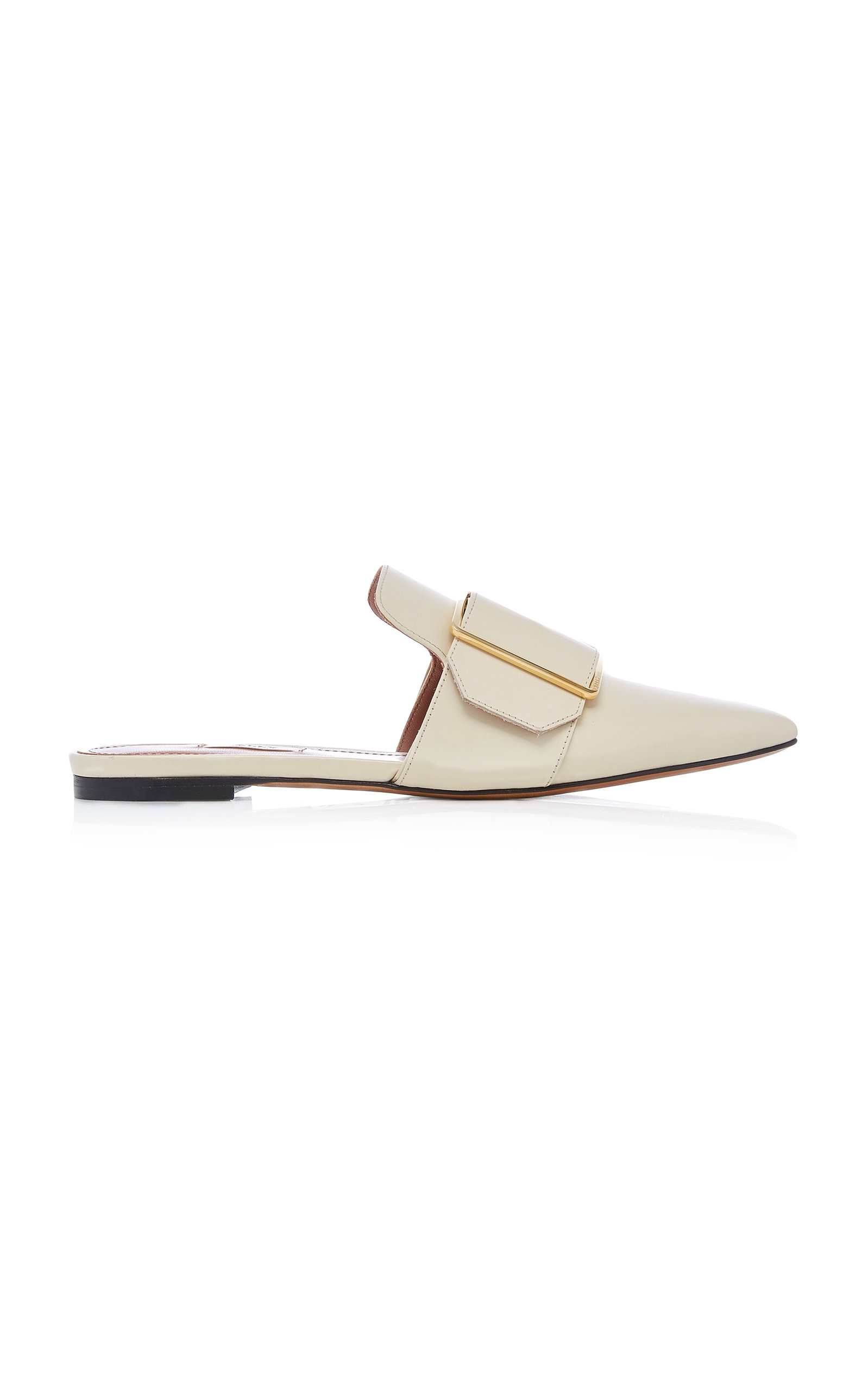 BALLY Hamelin Buckled Leather Mule in White