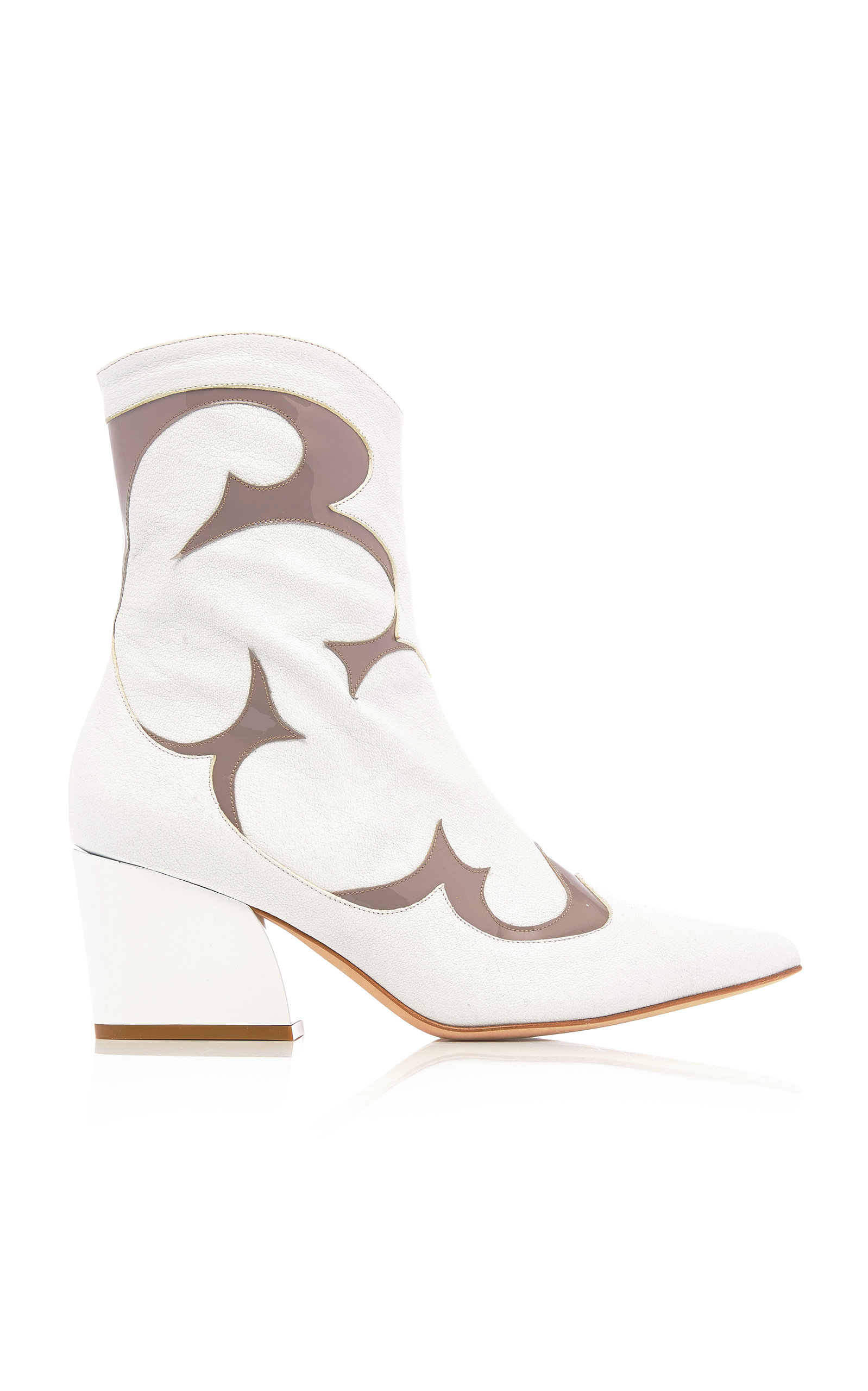 Felix Two-Tone Patent And Textured-Leather Ankle Boots, White