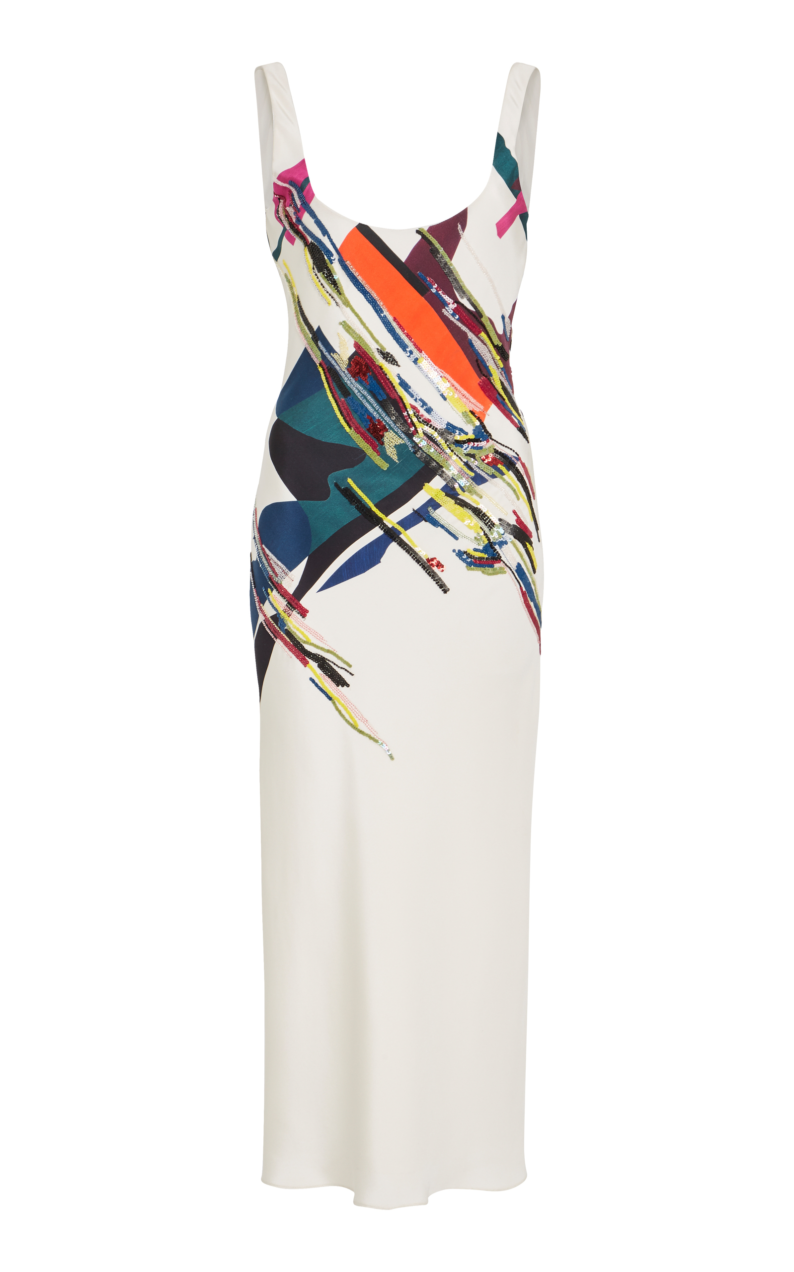 Sleeveless Scoop-Neck Expressionist-Print Beaded Bias-Cut Cami Slip Dress