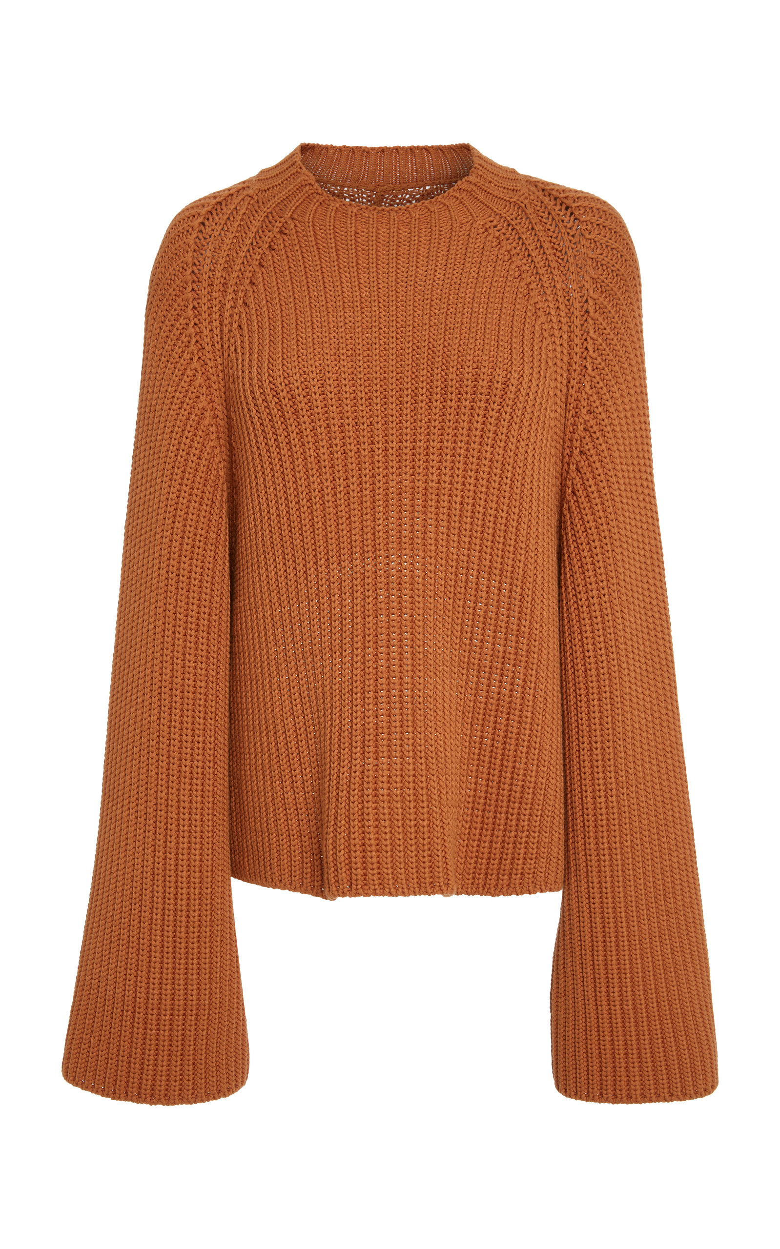 ROSETTA GETTY Cropped Rib Knit Flared Sweater in Brown