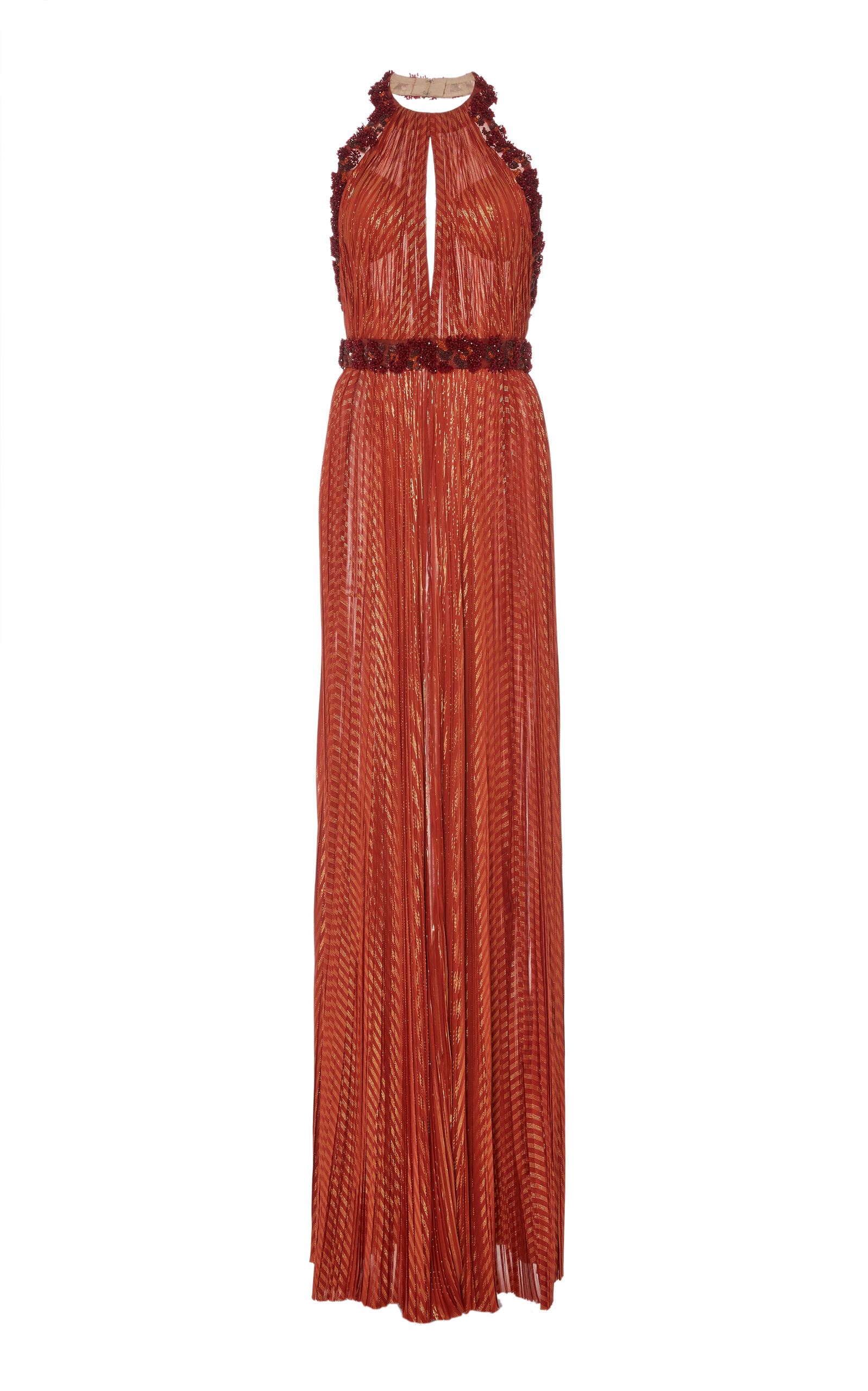J MENDEL METALLIC BEADED HALTER COLUMN GOWN,