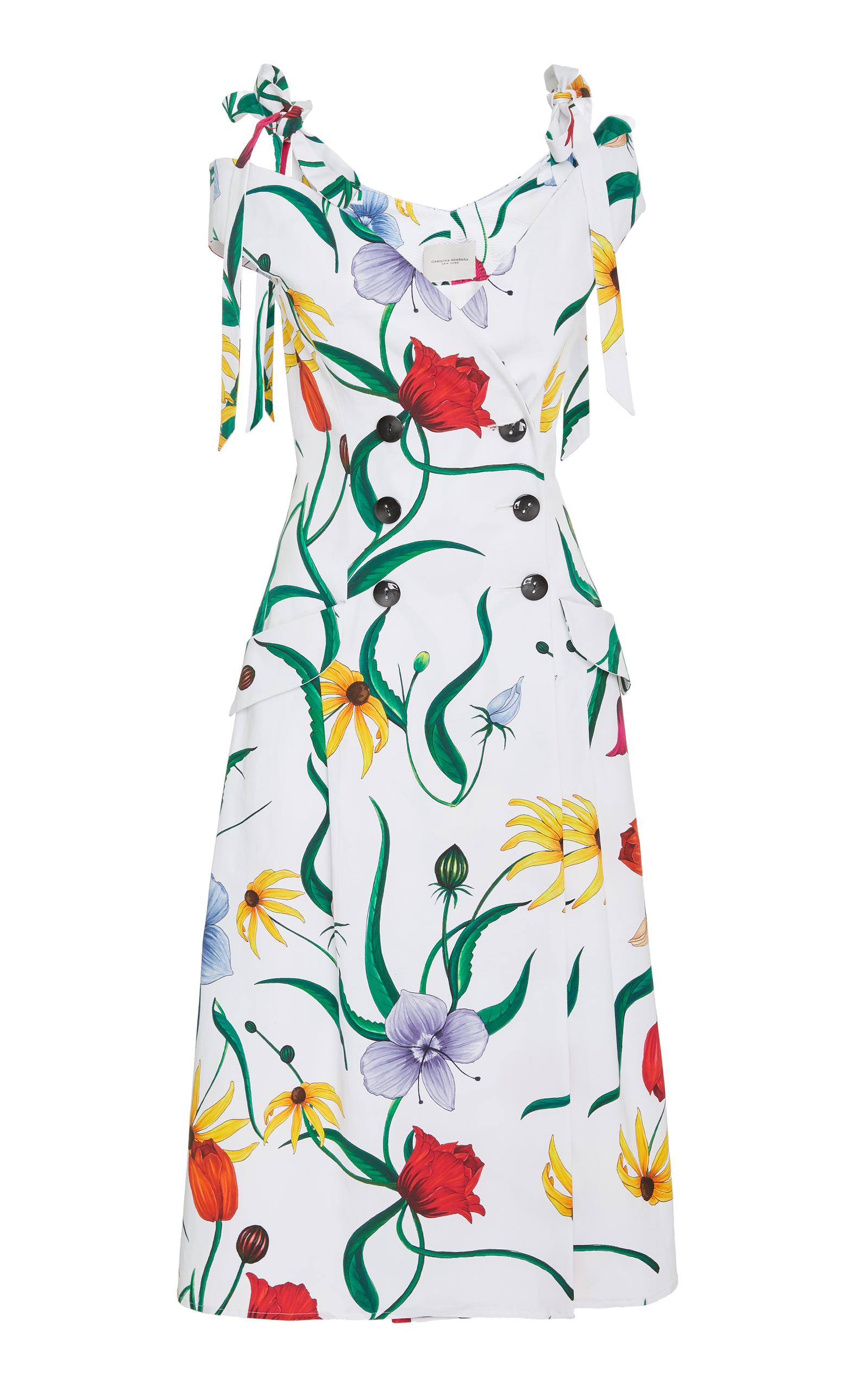 Off-The-Shoulder Floral Fit-And-Flare Daytime Dress in White