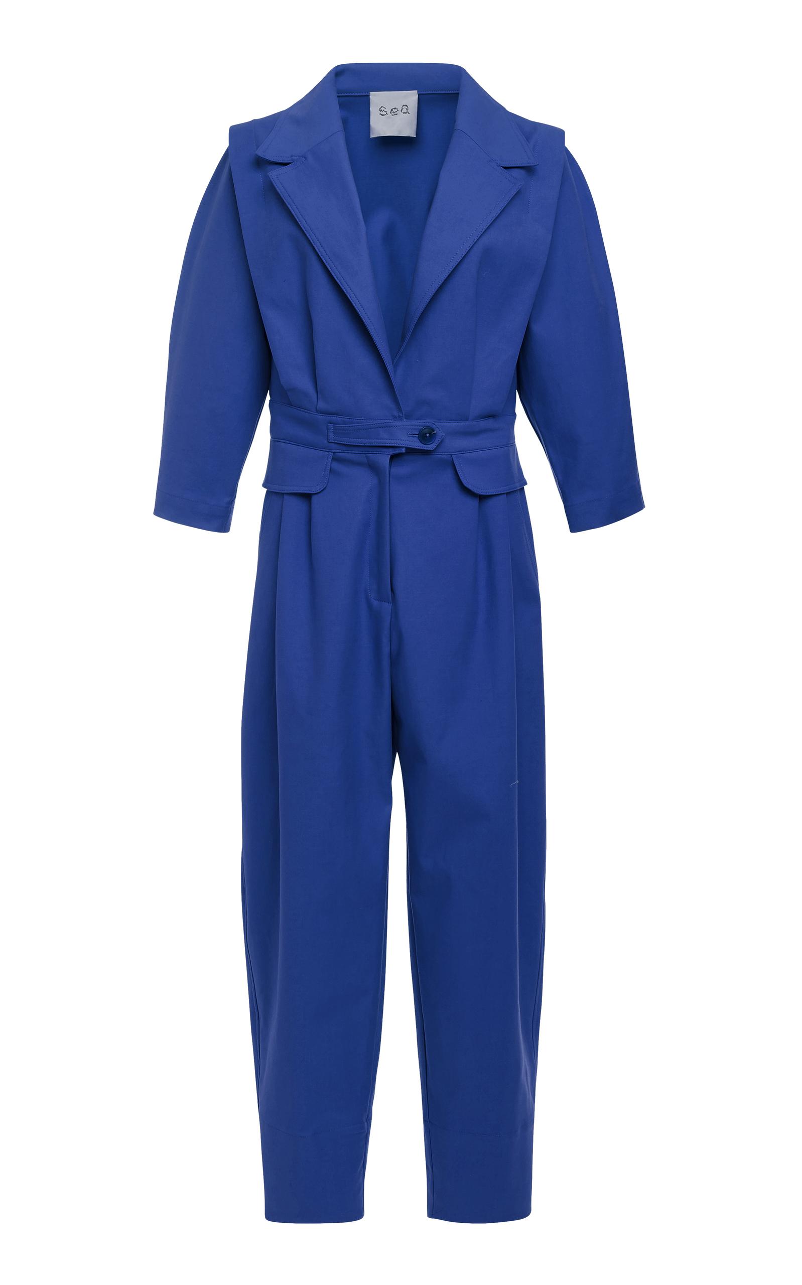 Kamille Cotton-Blend Jumpsuit in Blue