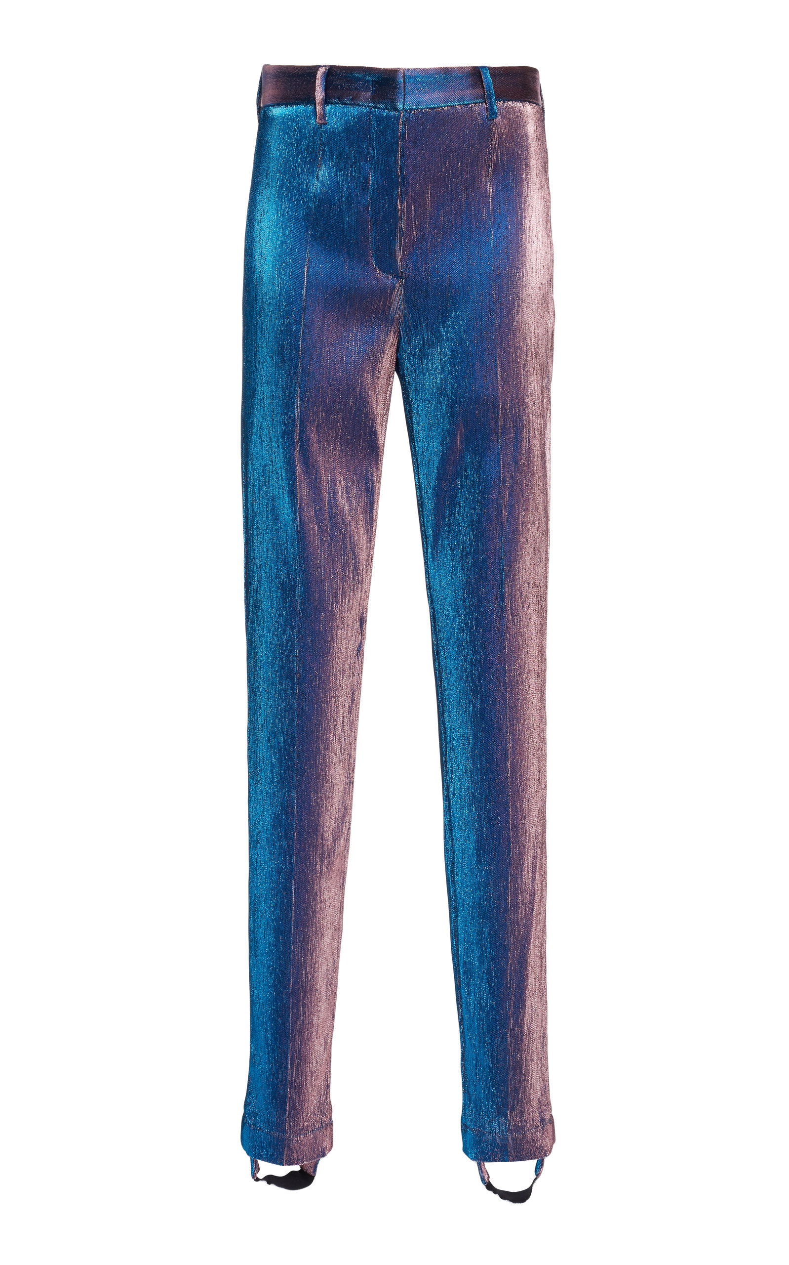 ROBERTO CAVALLI Stirrup High-Rise Metallic Skinny Pants in Purple