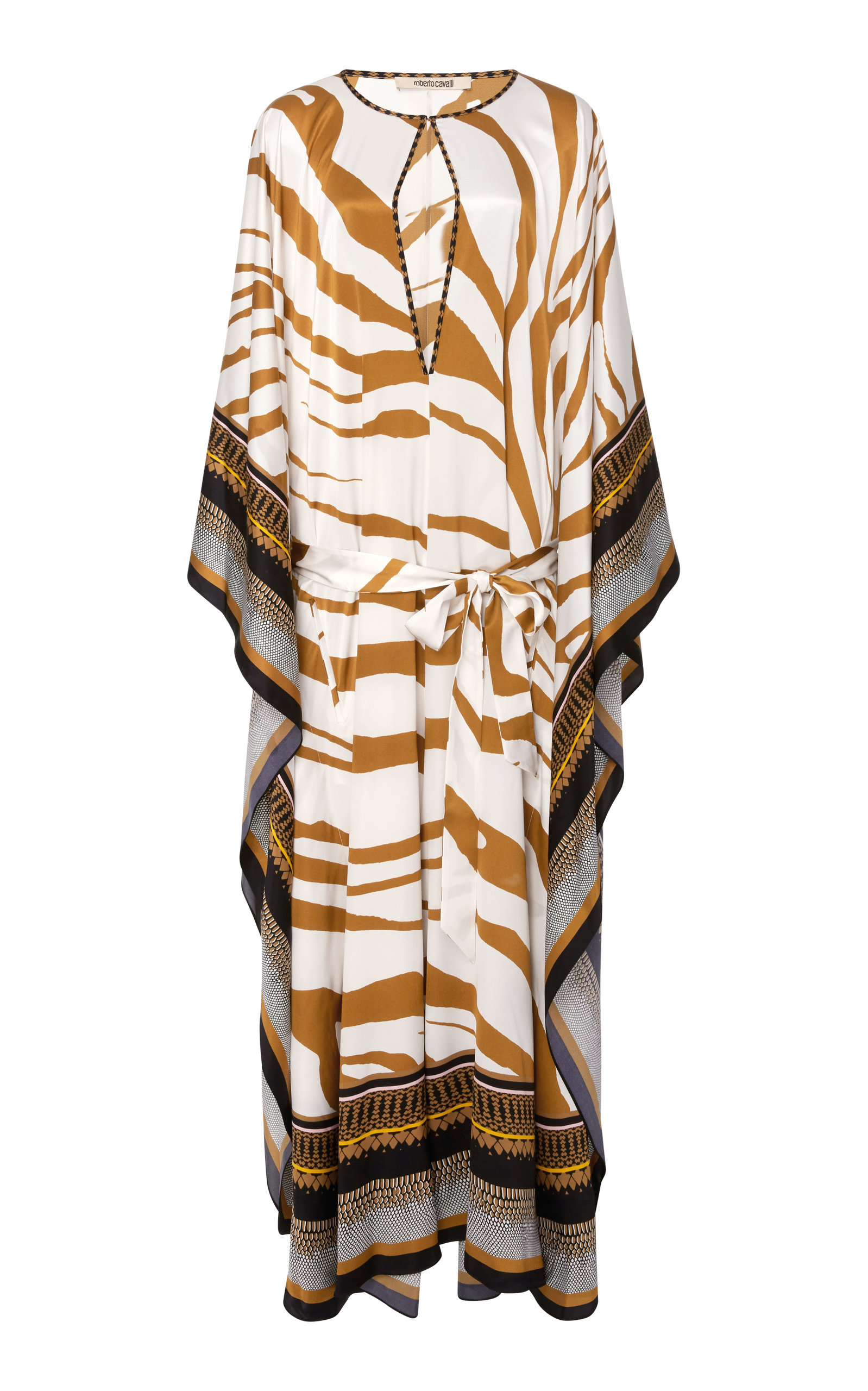 Cutout Printed Silk-Satin Kaftan Roberto Cavalli New Arrival Fashion iCPbkz