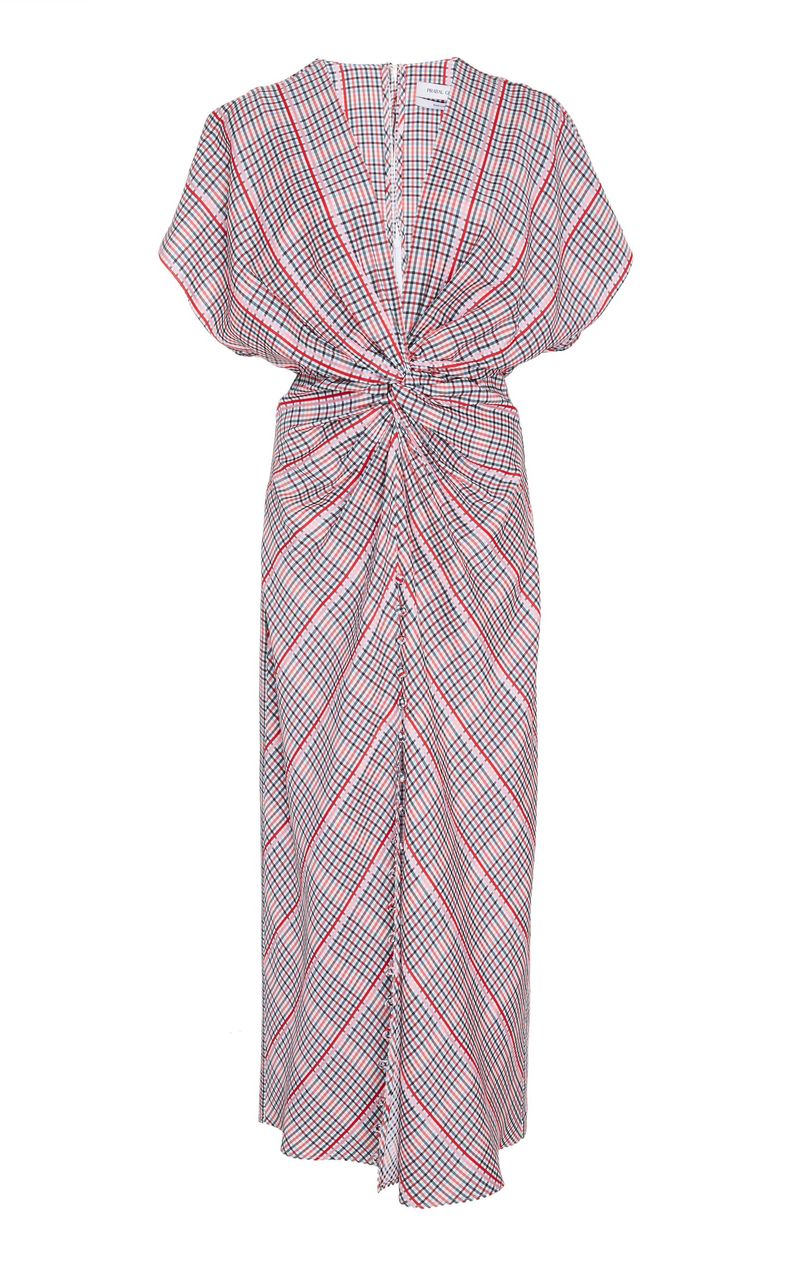 JACKIE TWIST-FRONT PLAID DRESS
