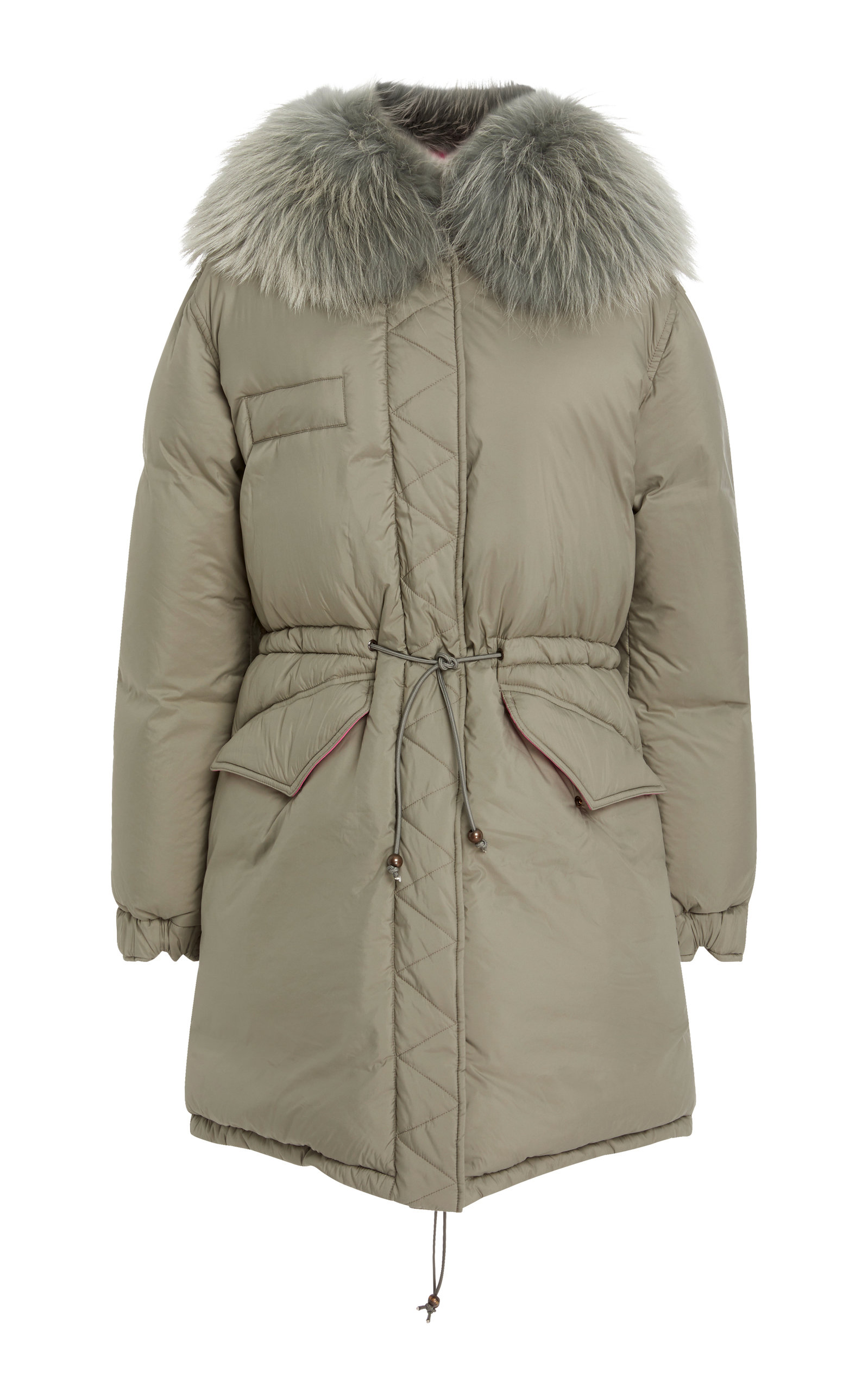 FUR-TRIMMED QUILTED SHELL COAT