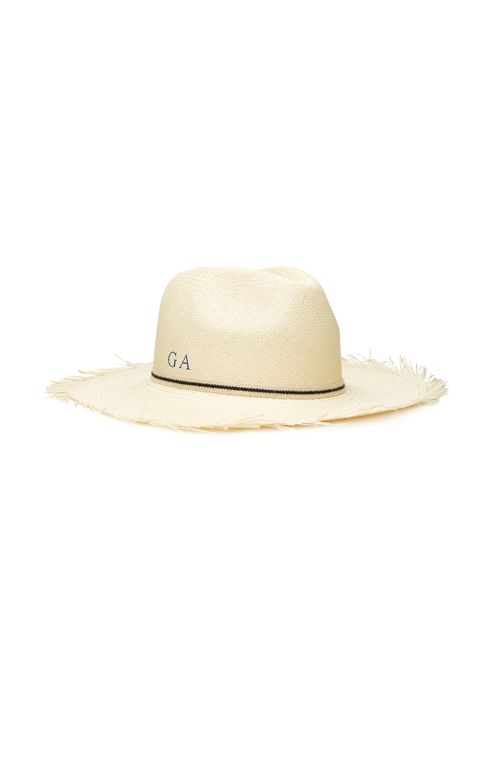 M'O Exclusive Monogrammable Frayed Edge Panama Hat
