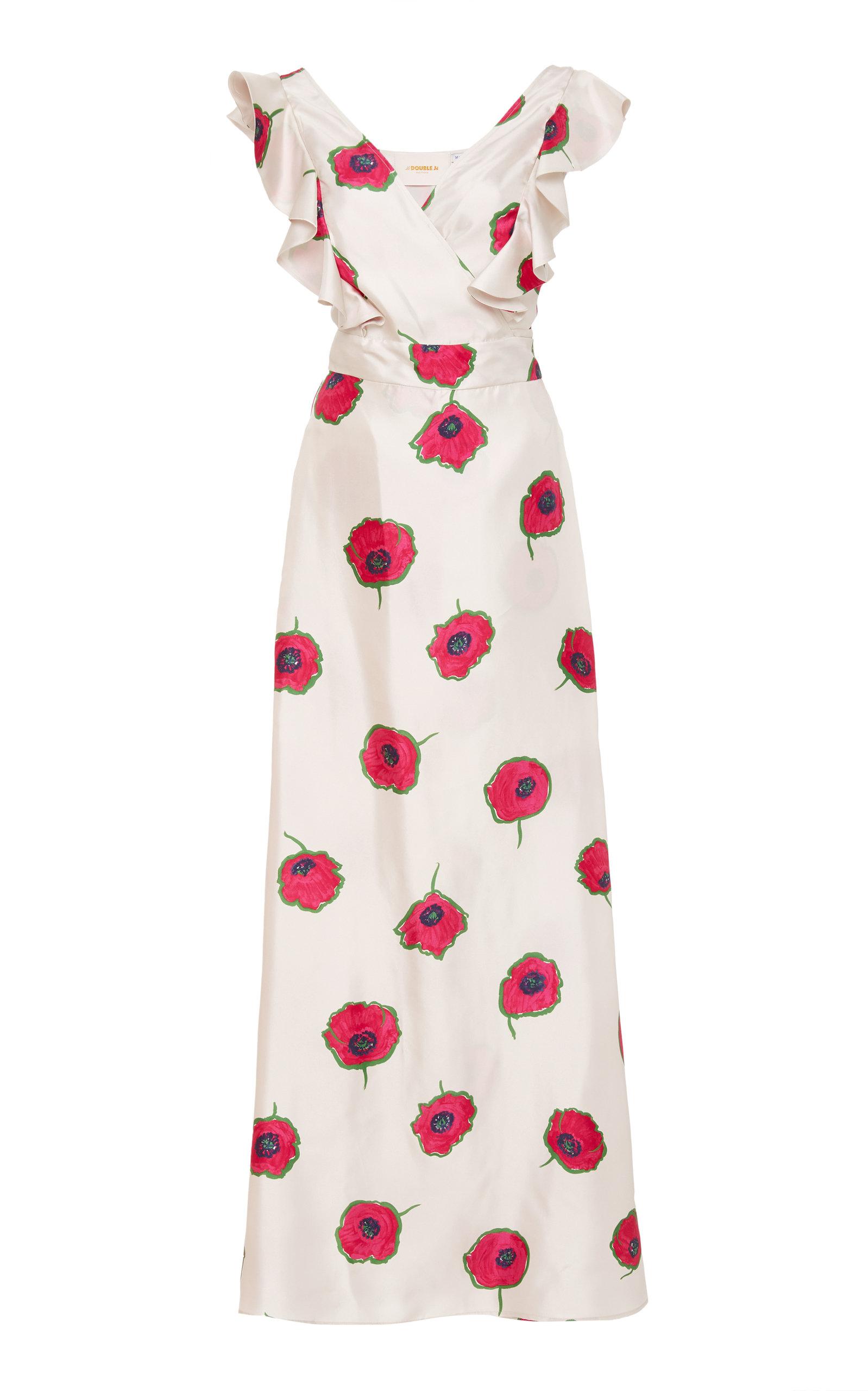 Ruffled Wrap-Effect Floral-Print Silk Dress