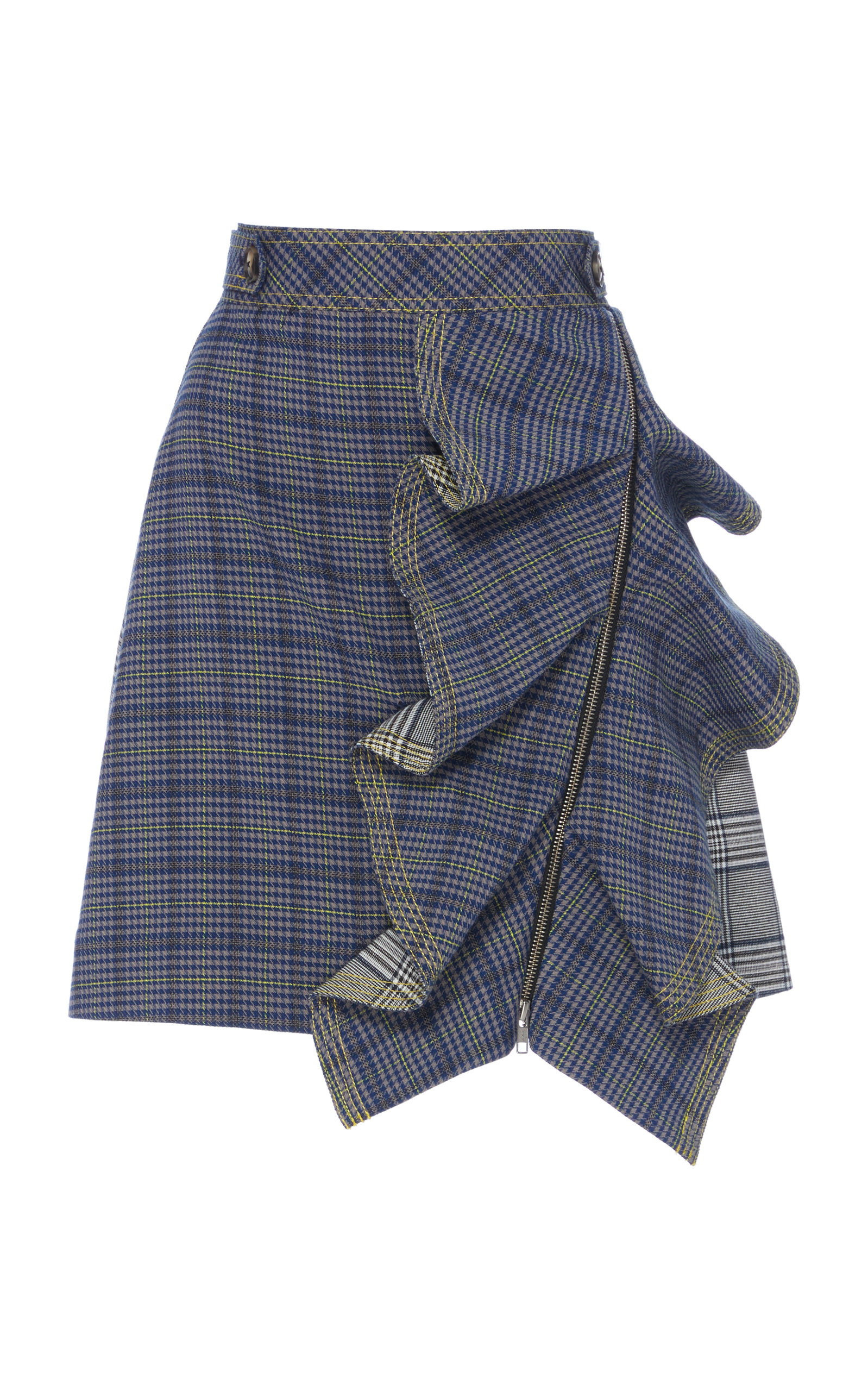 Ruffled Checked Tweed Mini Skirt, Plaid