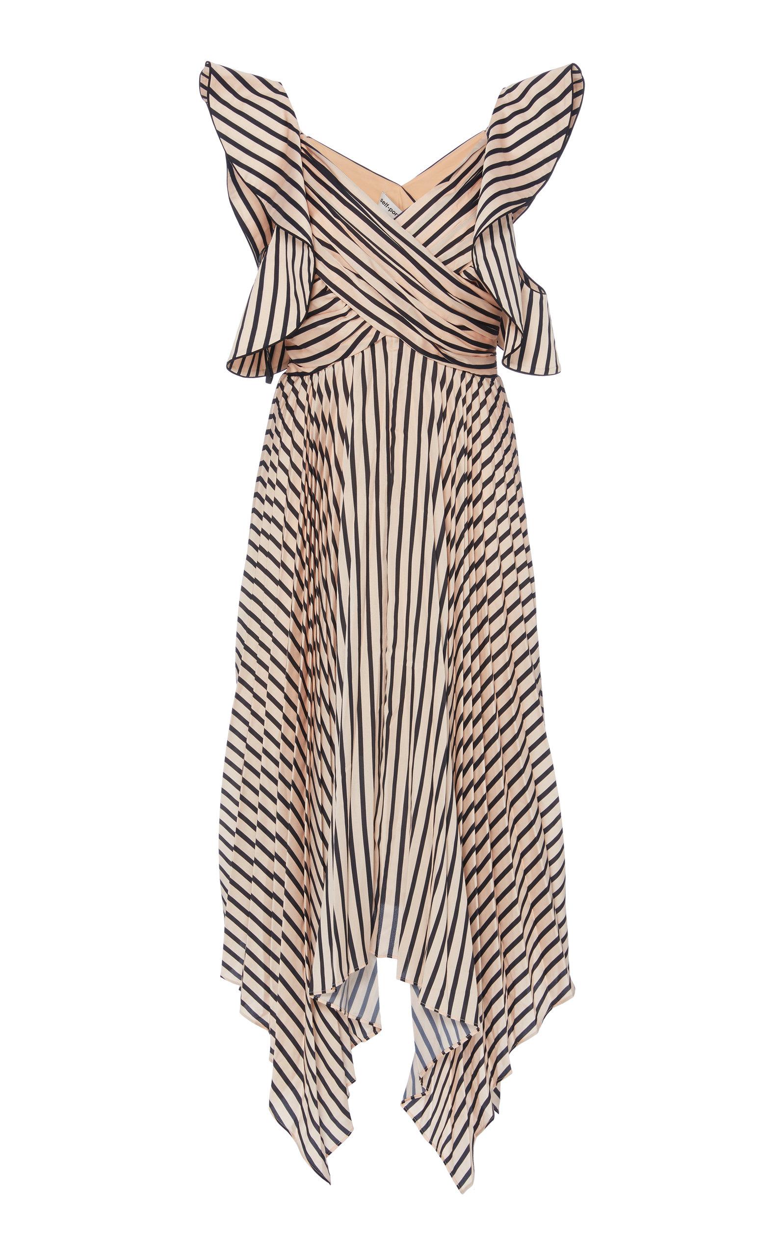 da859ea7b5e8 Asymmetric Stripe Midi Dress by Self Portrait | Moda Operandi