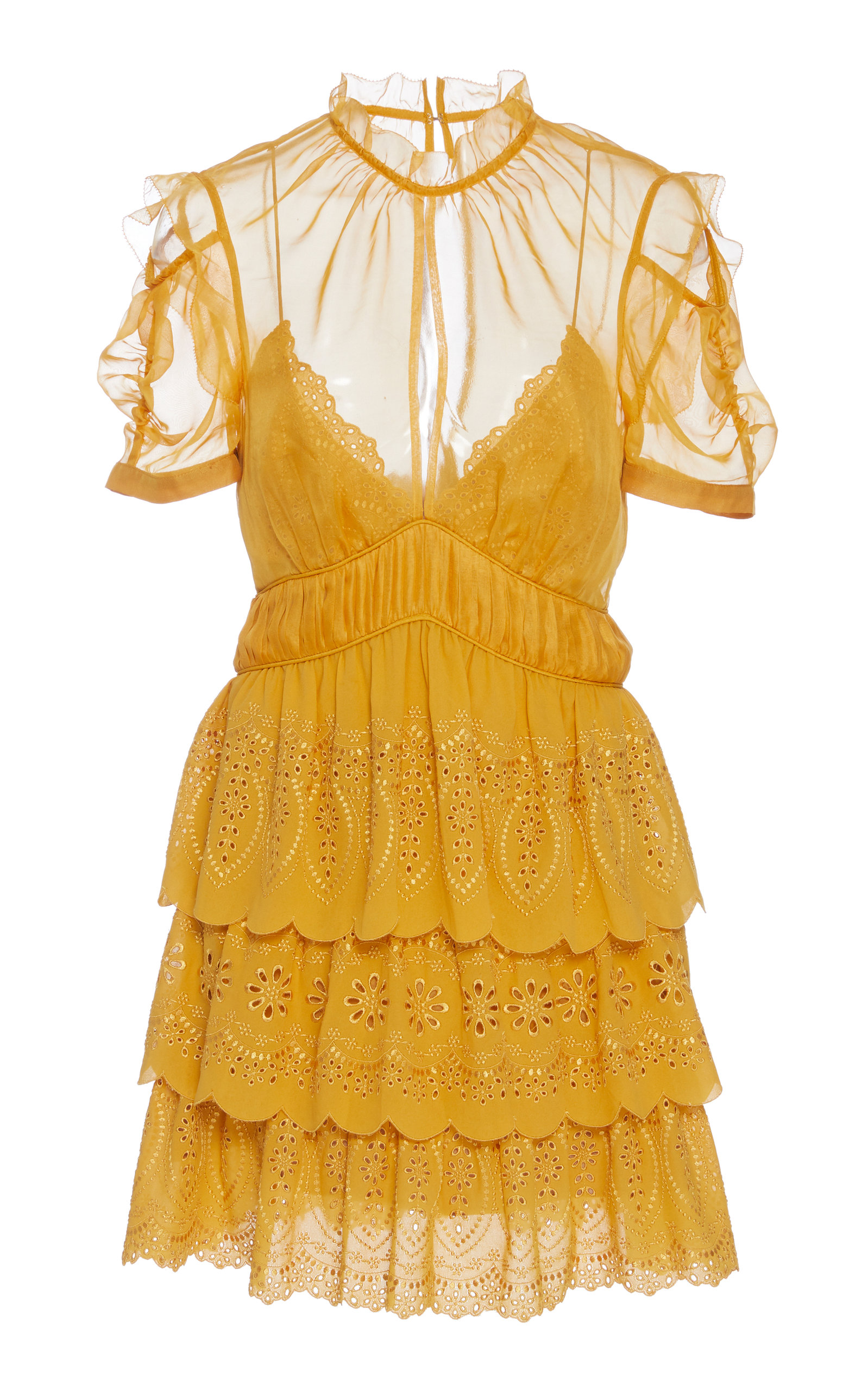 Embroidered Tiered Chiffon Mini Dress in Yellow