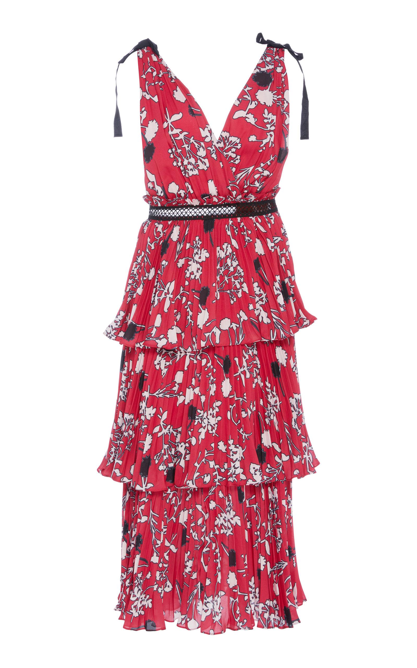 Asymmetric Floral-print Crepe De Chine Midi Dress - Fuchsia Self Portrait rc6qPTx