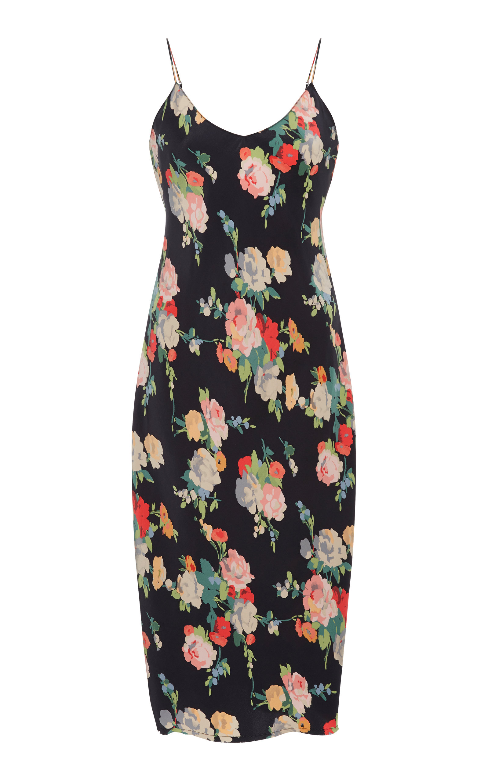 Short Floral-Print Silk Slip Dress