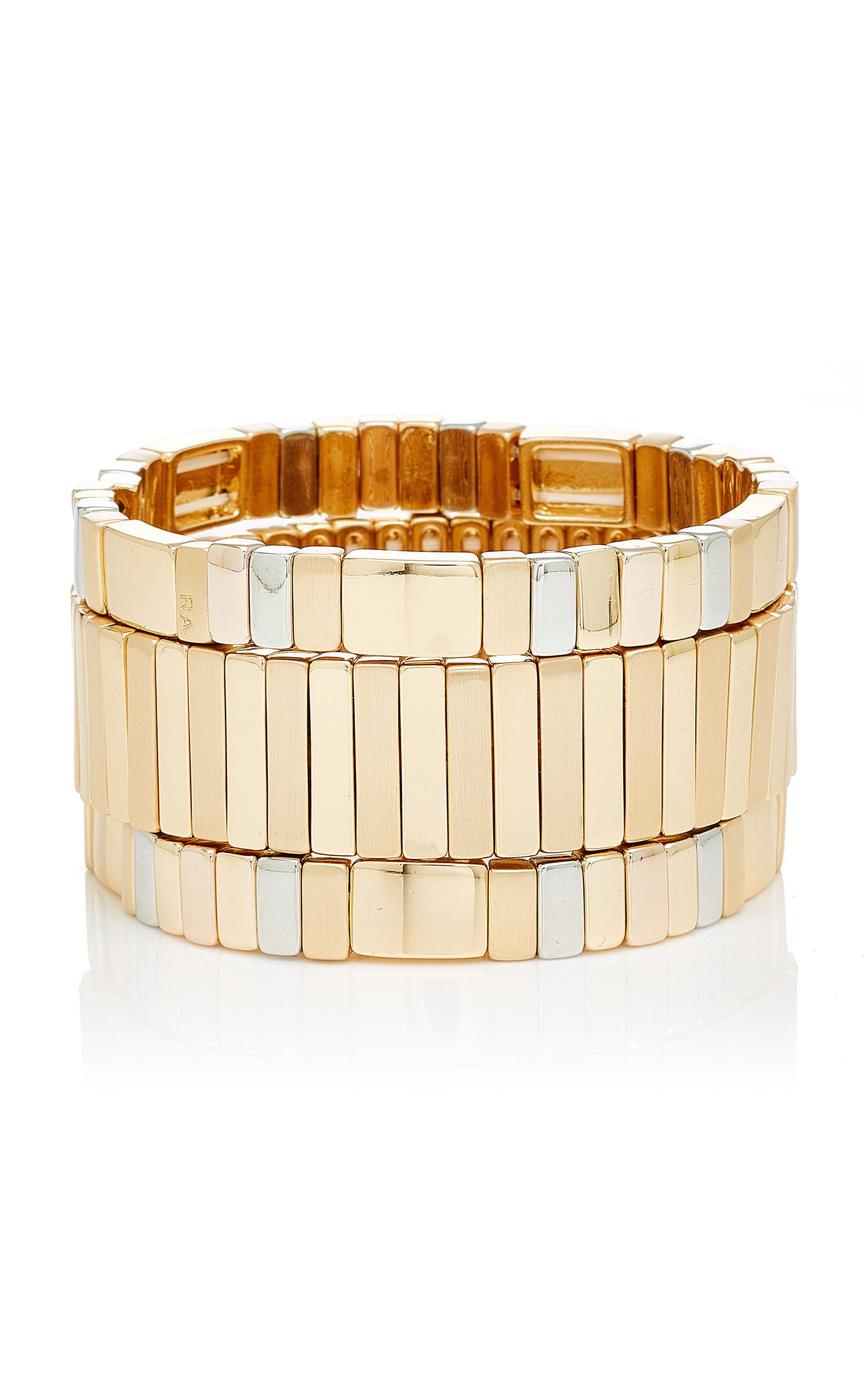ROXANNE ASSOULIN SET OF THREE GOLD AND SILVER-PLATED BRACELETS