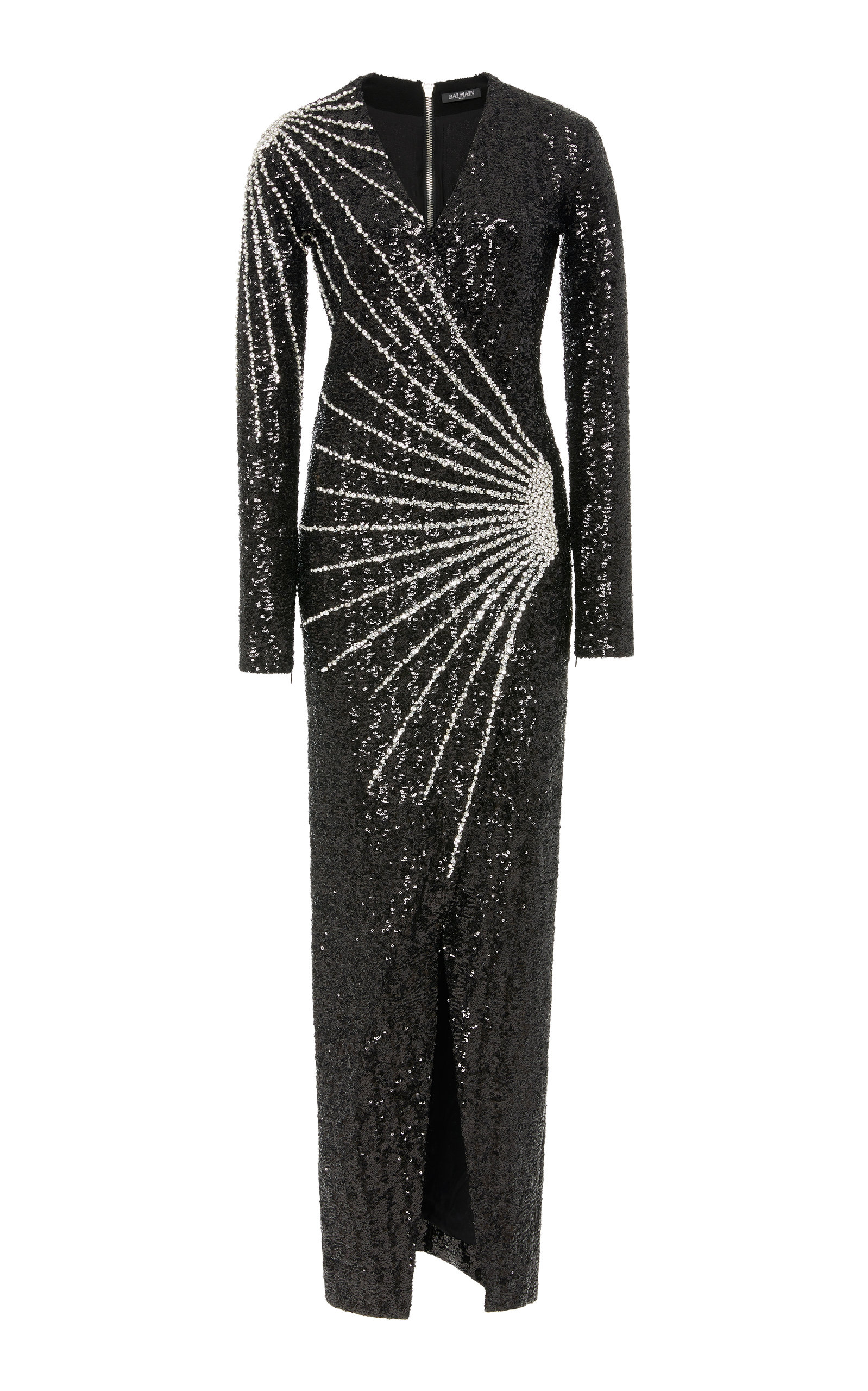 CRYSTAL-EMBELLISHED LAMÉ GOWN