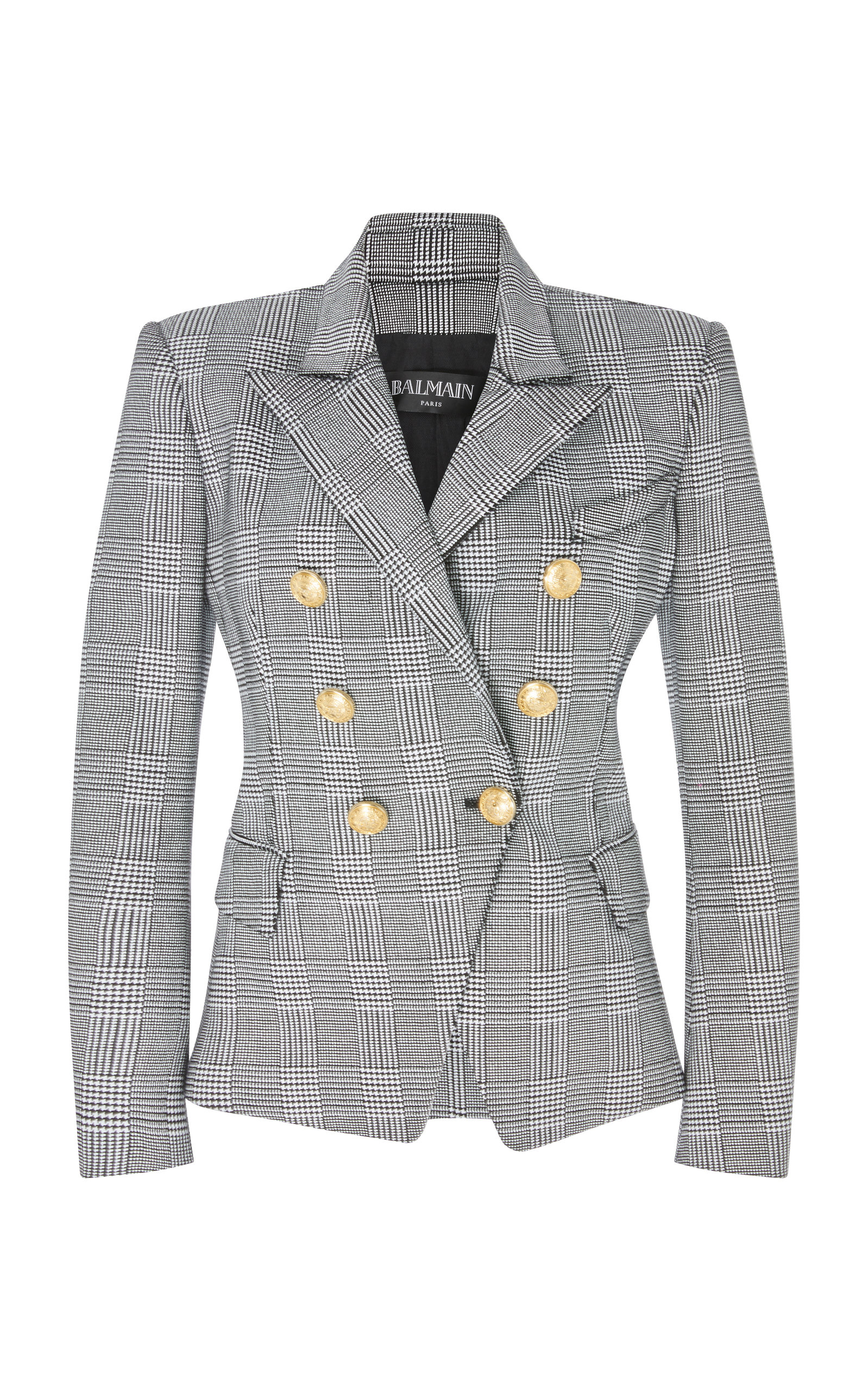 BALMAIN PRINCE OF WALES CHECKED DOUBLE BREASTED COTTON-BLEND BLAZER