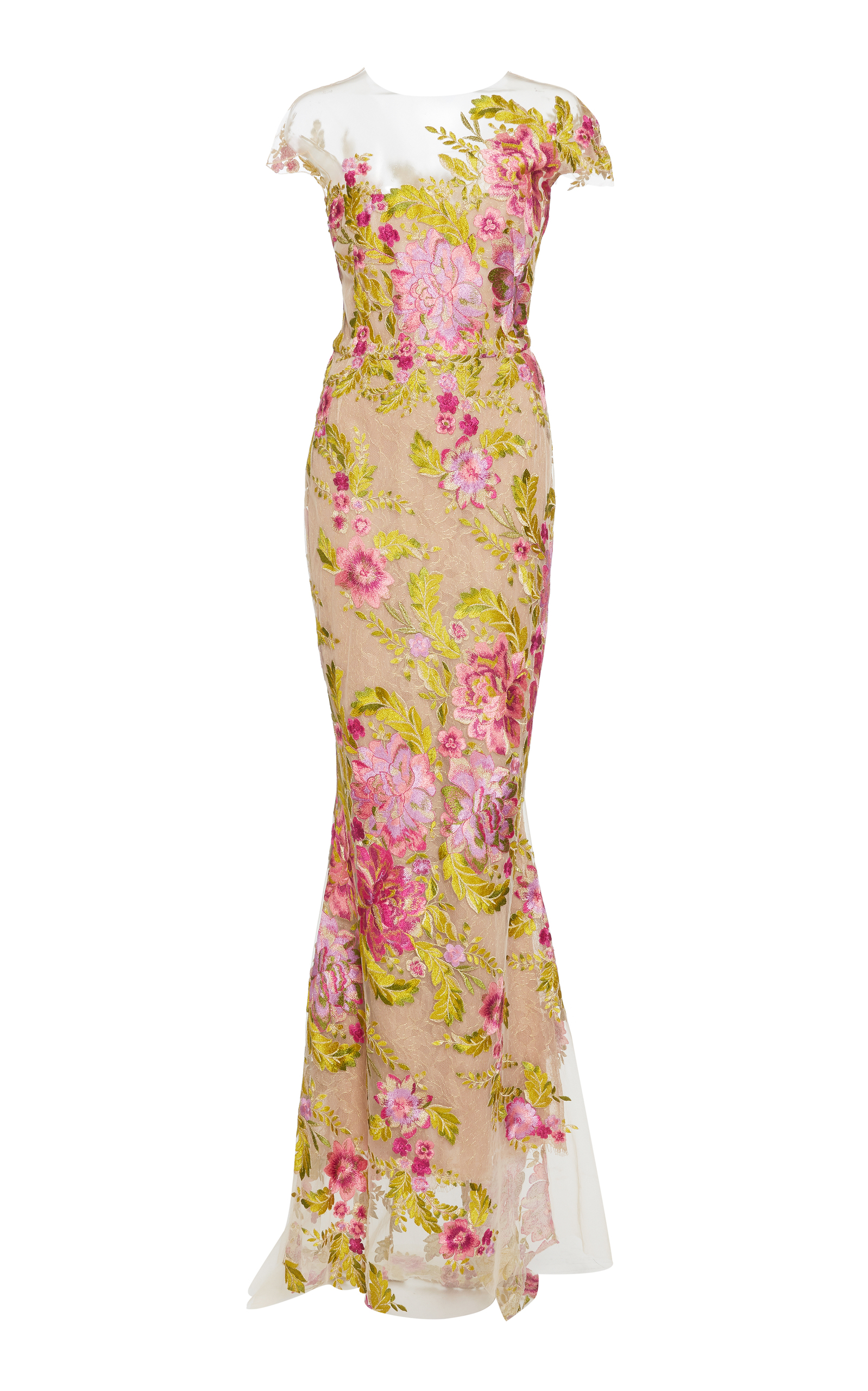 aaaf2866 Multi Color Floral Embroidered Gown by Marchesa | Moda Operandi