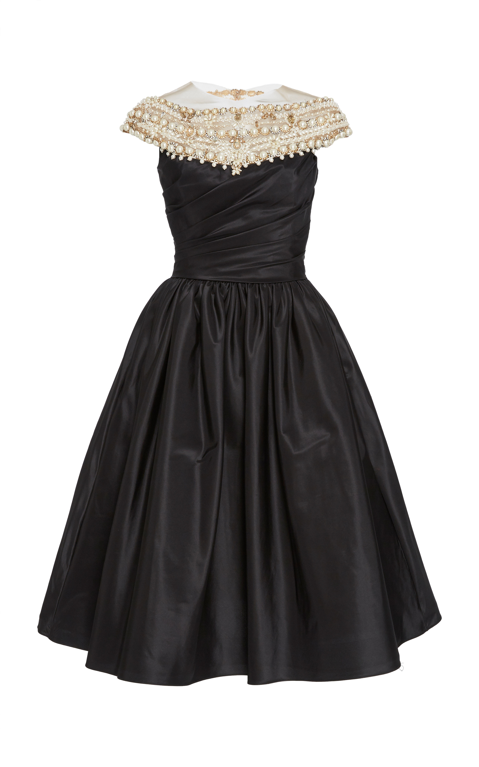 Couture Black Embroidered Silk Taffeta Cocktail Dress from District 5 Boutique