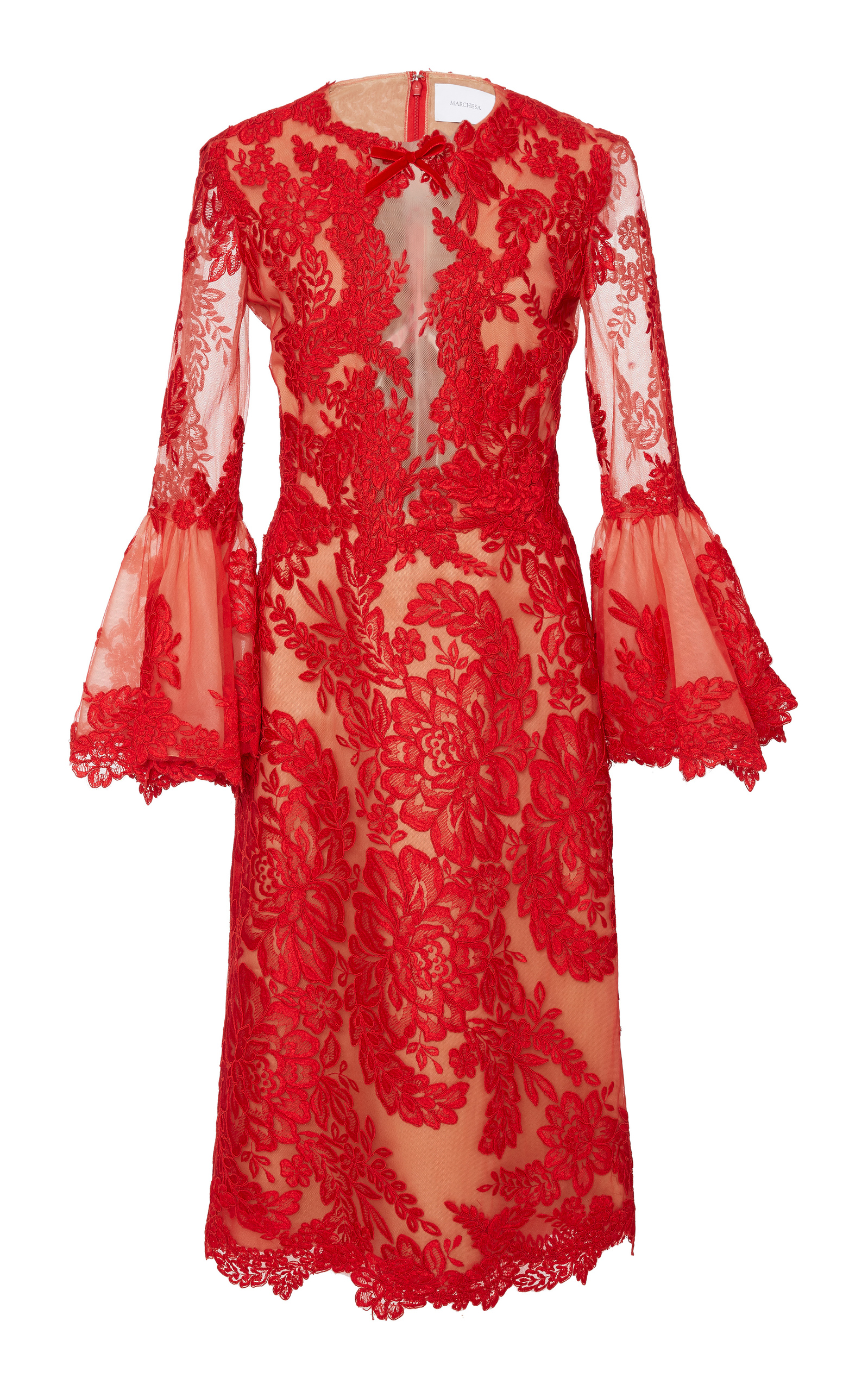 MARCHESA Couture Red Bell Sleeve Cocktail Dress