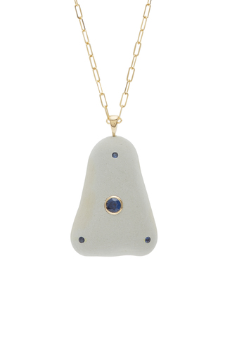 Cheap Real Atlantic 18K Gold Beach Stone and Sapphire Necklace CVC Pick A Best For Sale Clearance Low Shipping Fee R7FnCur