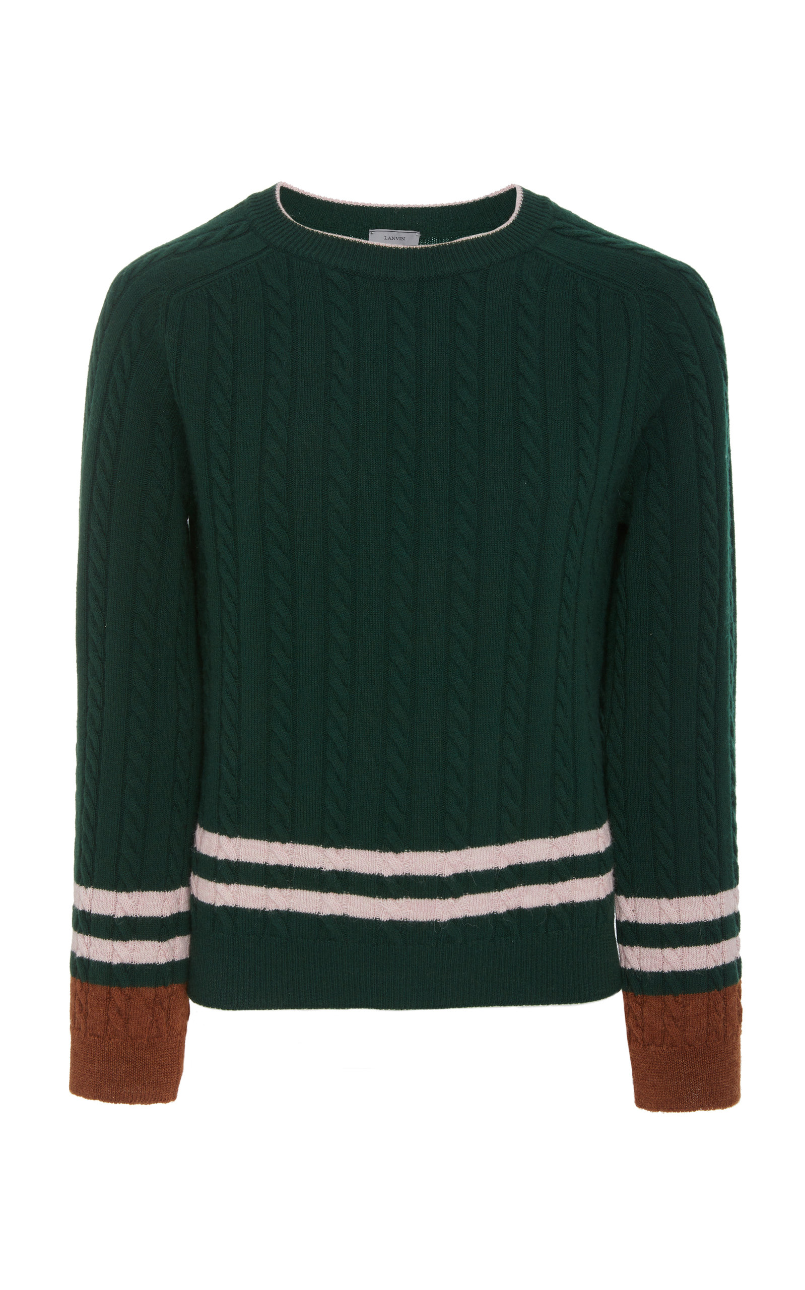 ddaf4d09b LANVIN STRIPED WOOL AND CASHMERE-BLEND CABLE-KNIT SWEATER