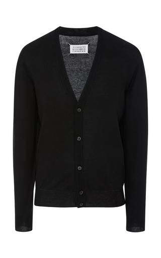 MAISON MARGIELA | Maison Margiela Elbow-Patch Wool And Cotton-Blend Cardigan | Goxip