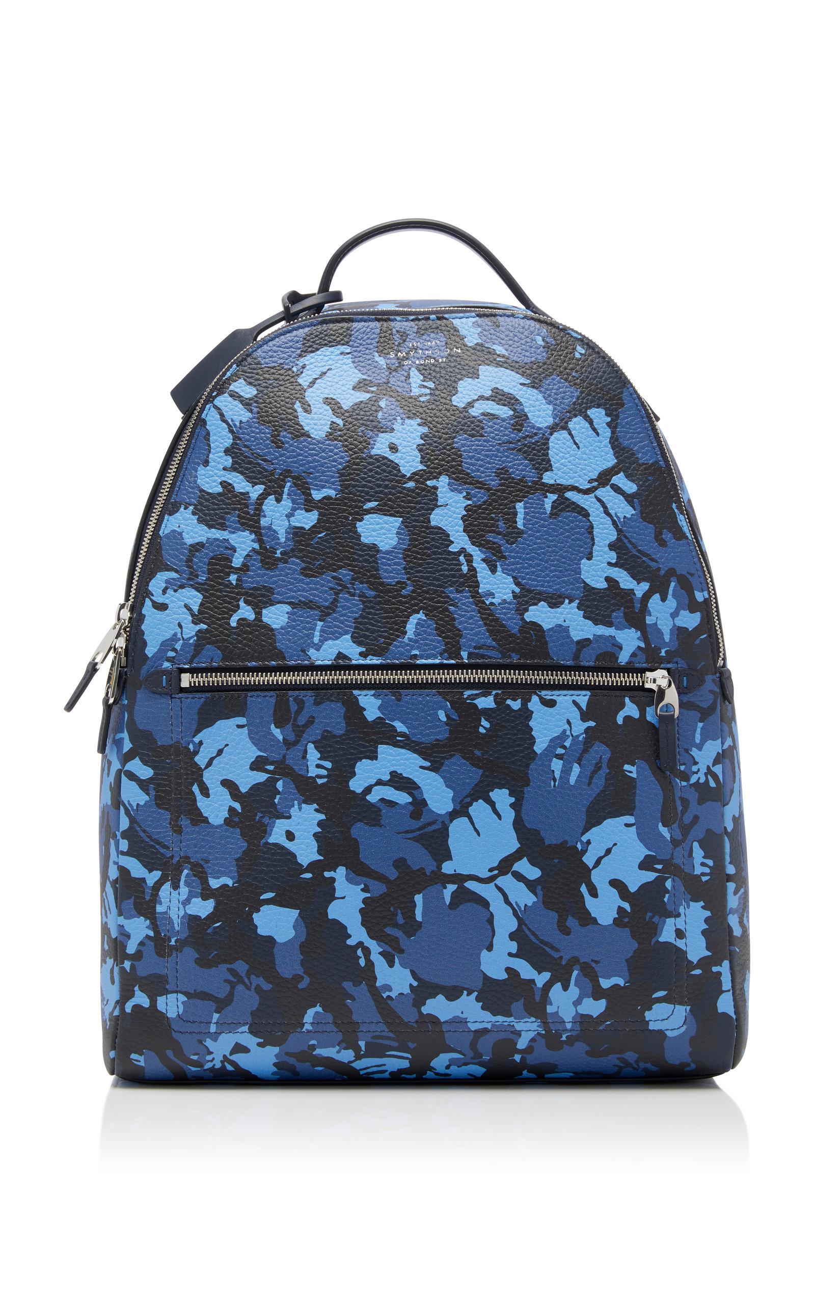 SMYTHSON Burlington Camouflage Leather Backpack in Blue