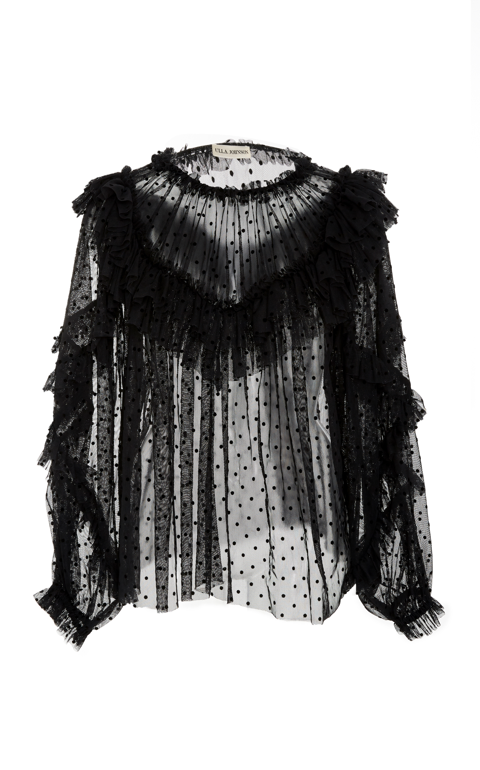 Dita Ruffled Flocked Cotton-Blend Tulle Blouse, Black