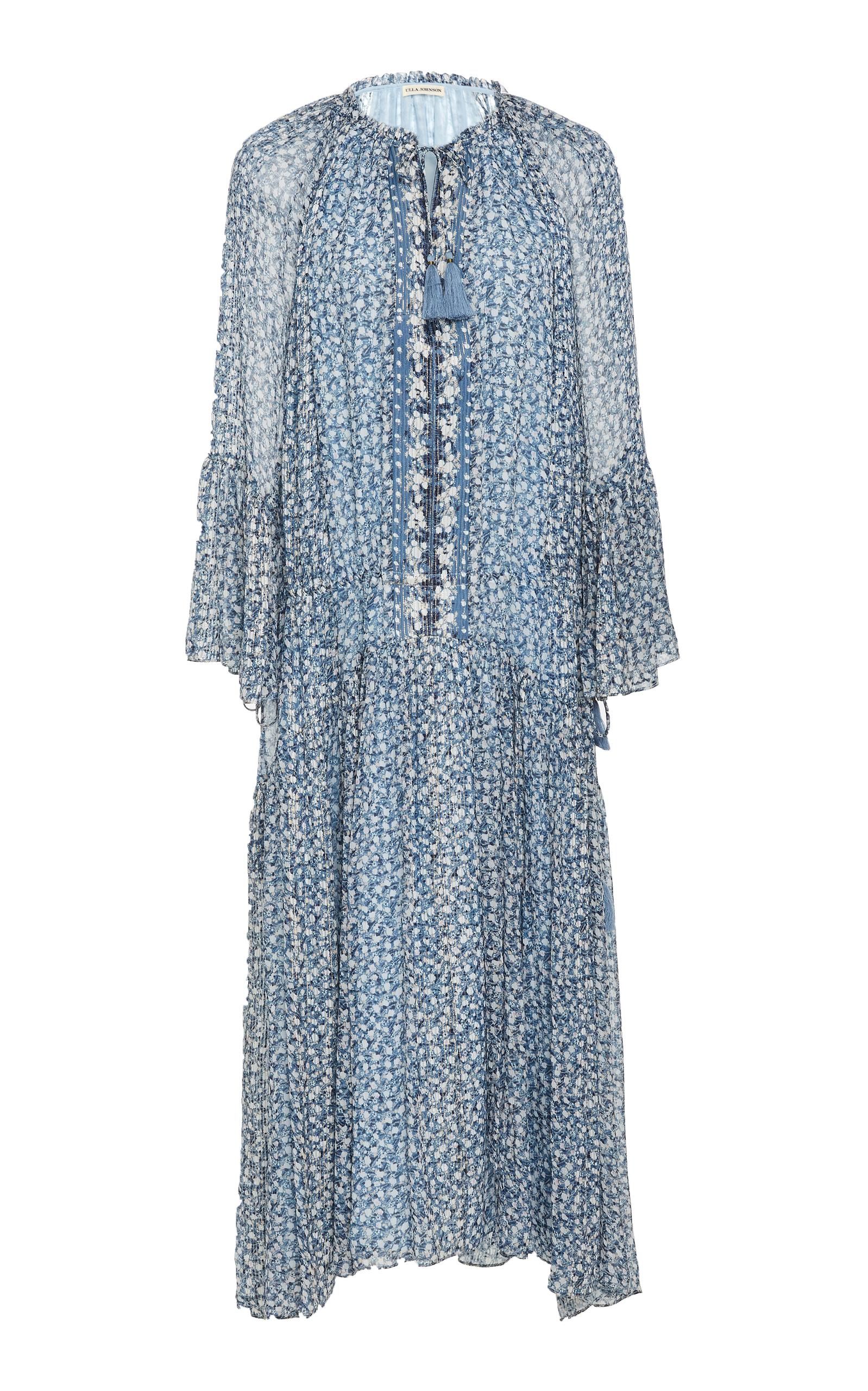 Silk blue chiffon dress new photo
