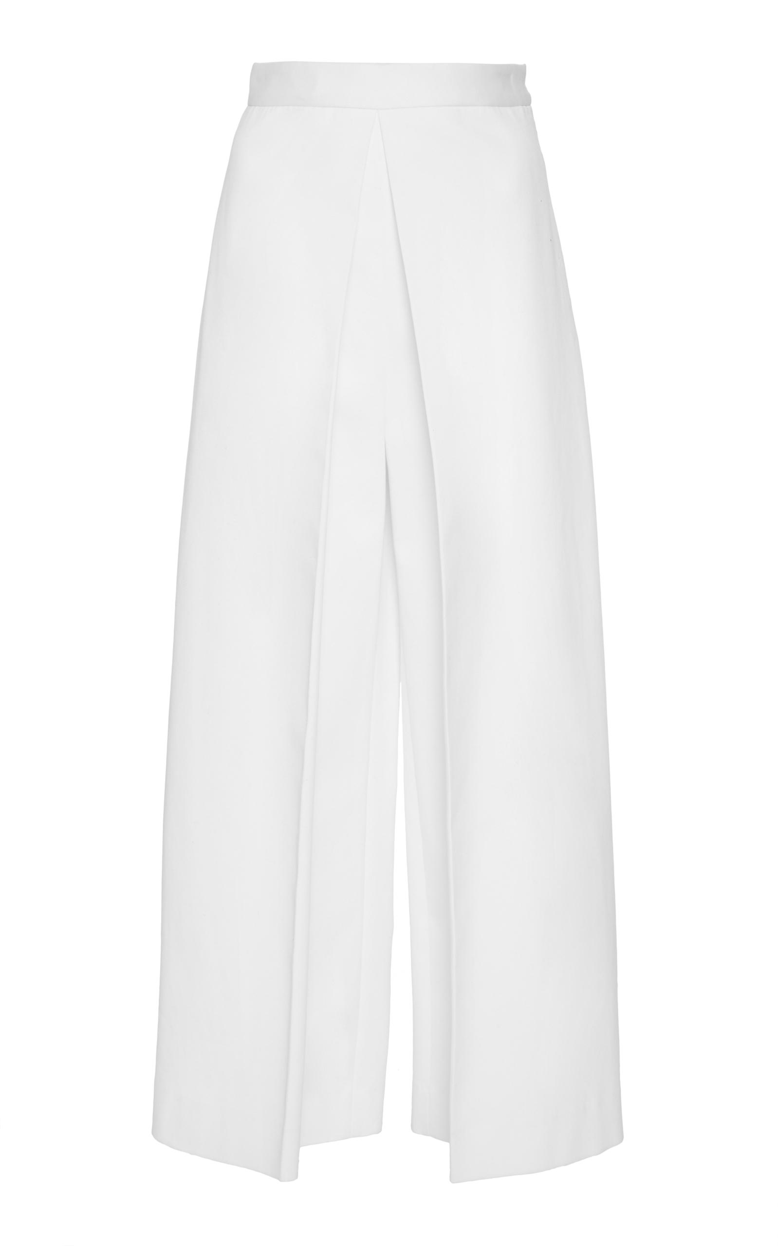 ROSETTA GETTY Pleat-Front Stretch-Ottoman Culottes in White