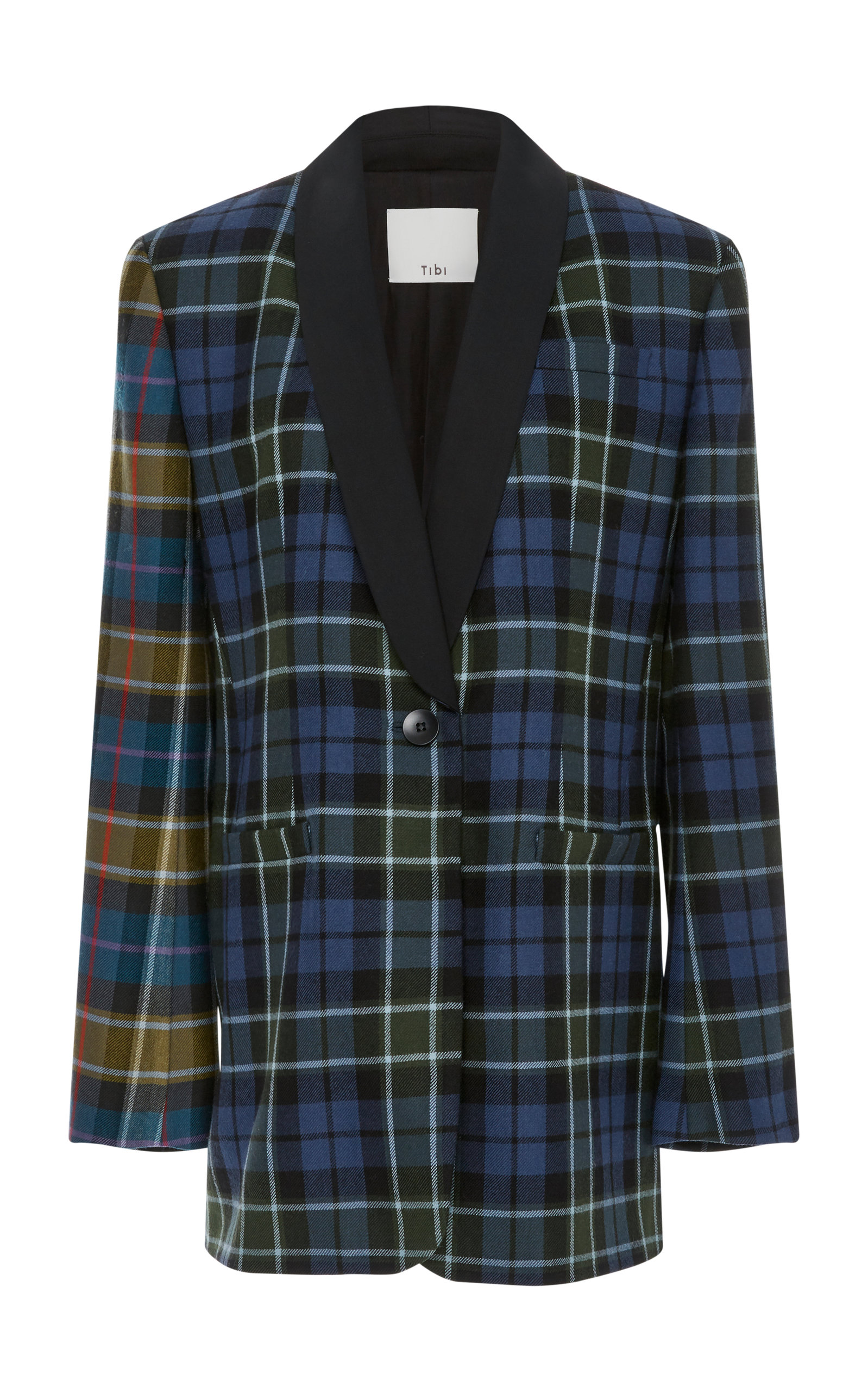 Tartan Oversized Tuxedo Blazer With Belt, Plaid