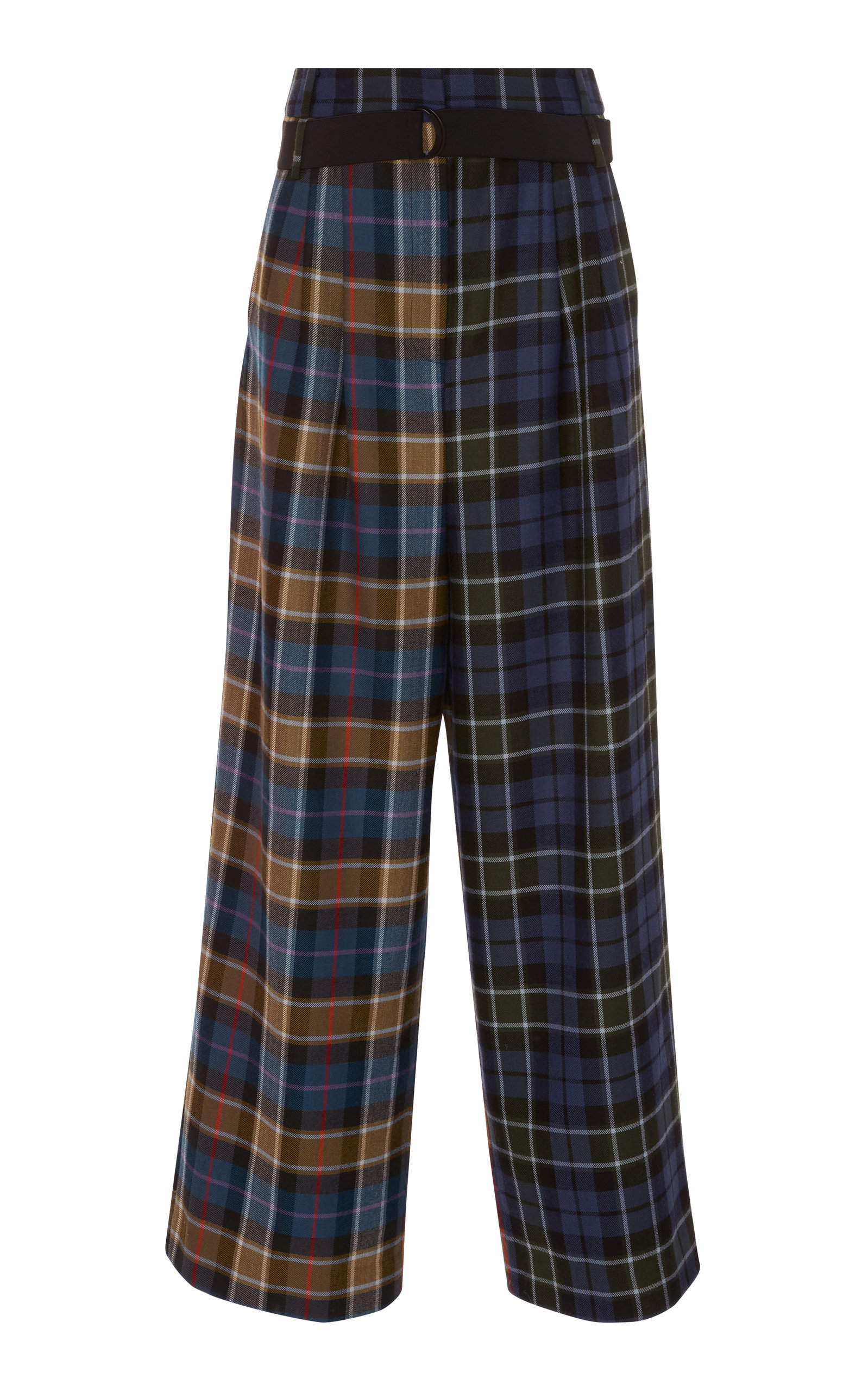 Stella Pleated Pant With Elastic Belt, Plaid
