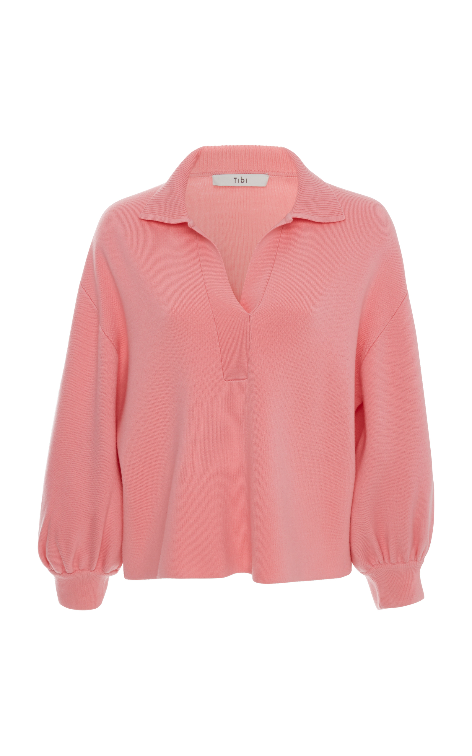Bell Sleeve Polo Neck Pullover Sweater, Pink
