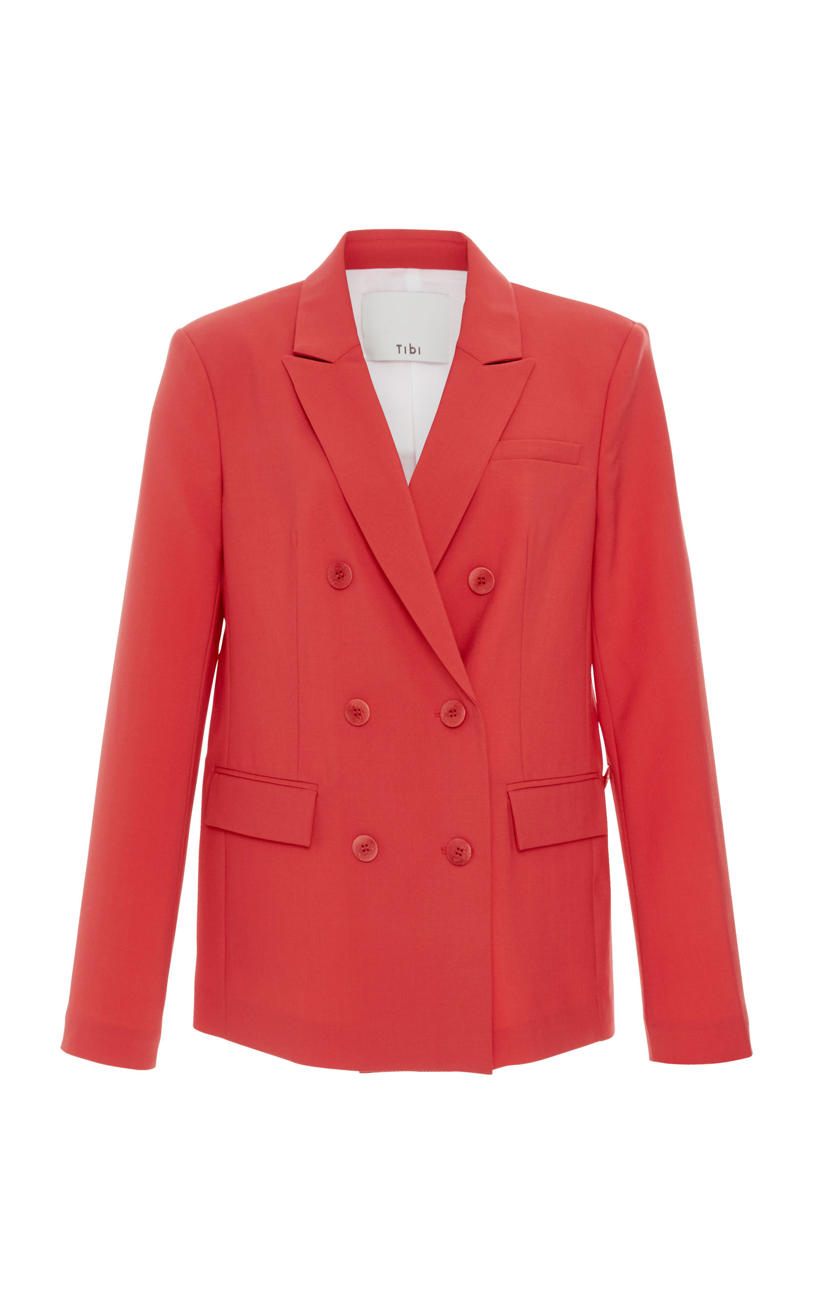 Steward Double-Breasted Crepe Blazer, Pink