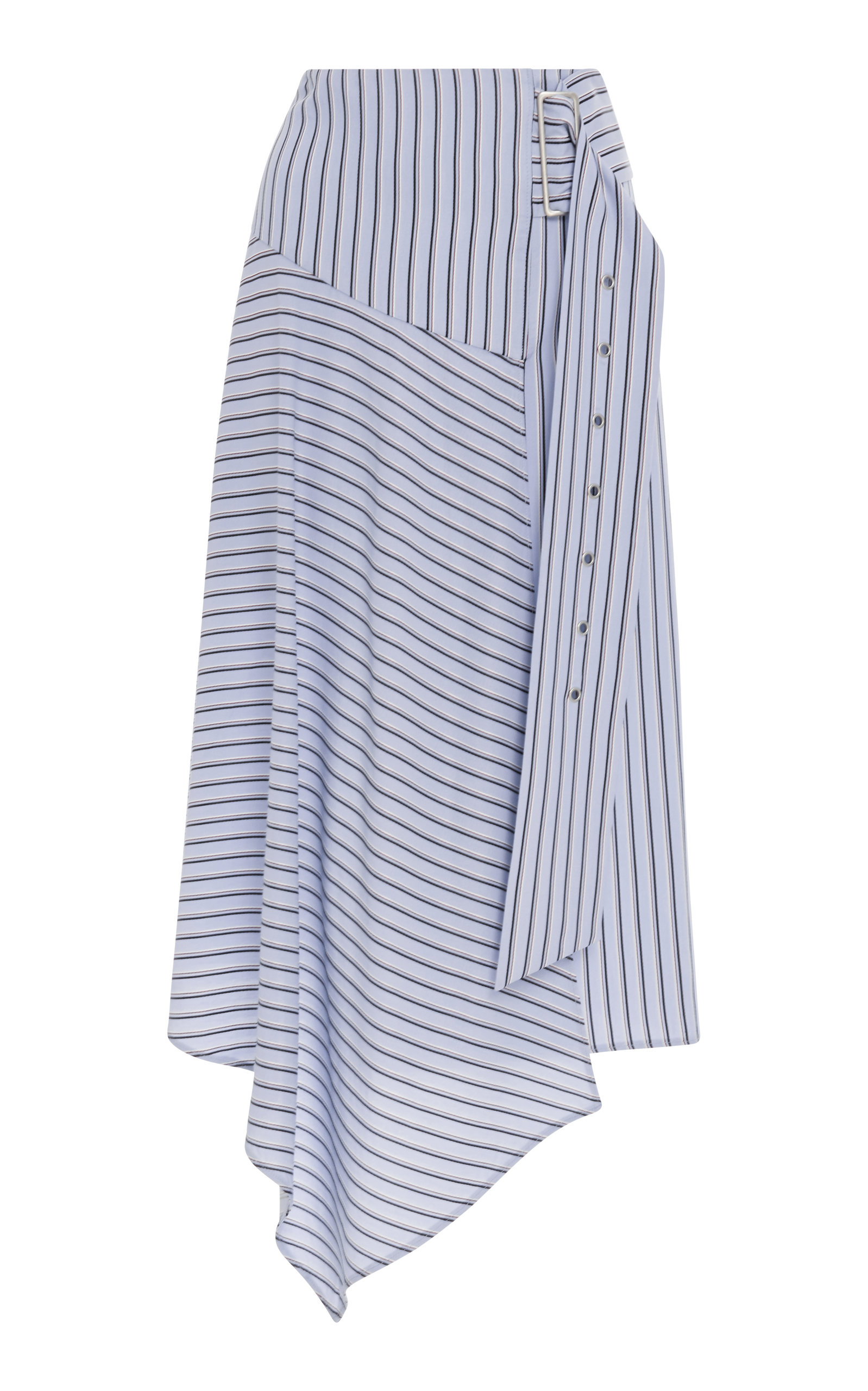 Viscose Stripe Asymmetrical Drape Skirt