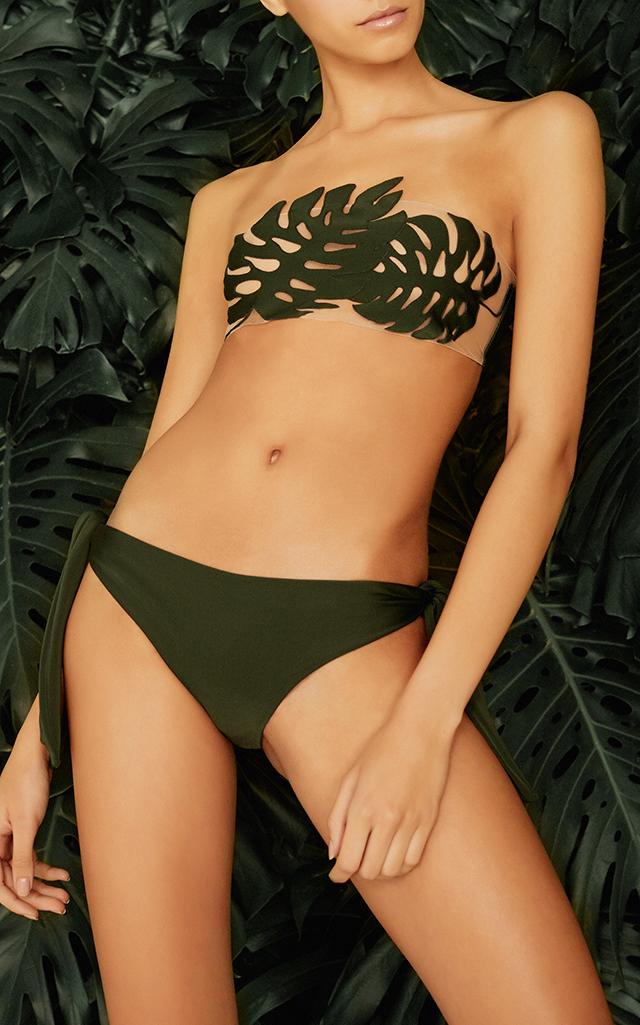 ADRIANA DEGREAS Strapless Bikini With Tulle in Green