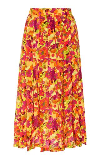 ADRIANA DEGREAS | Adriana Degreas Fruits Print Pleated Midi Skirt | Goxip