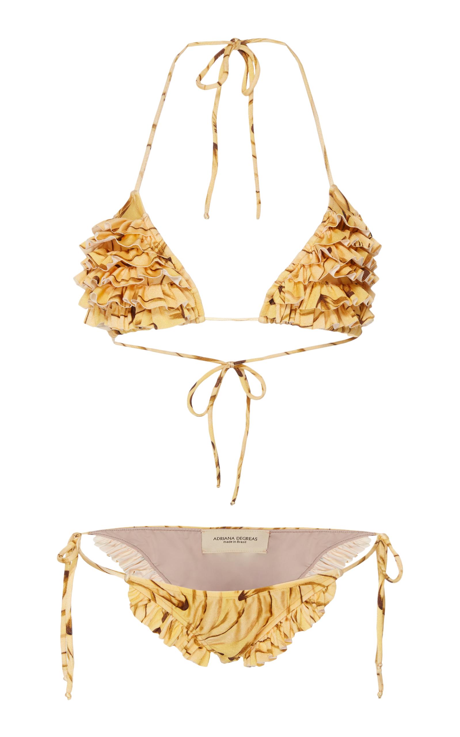 5c5047761afbb Adriana Degreas Muse Print Triangle Bikini With Ties And Ruffles In Yellow