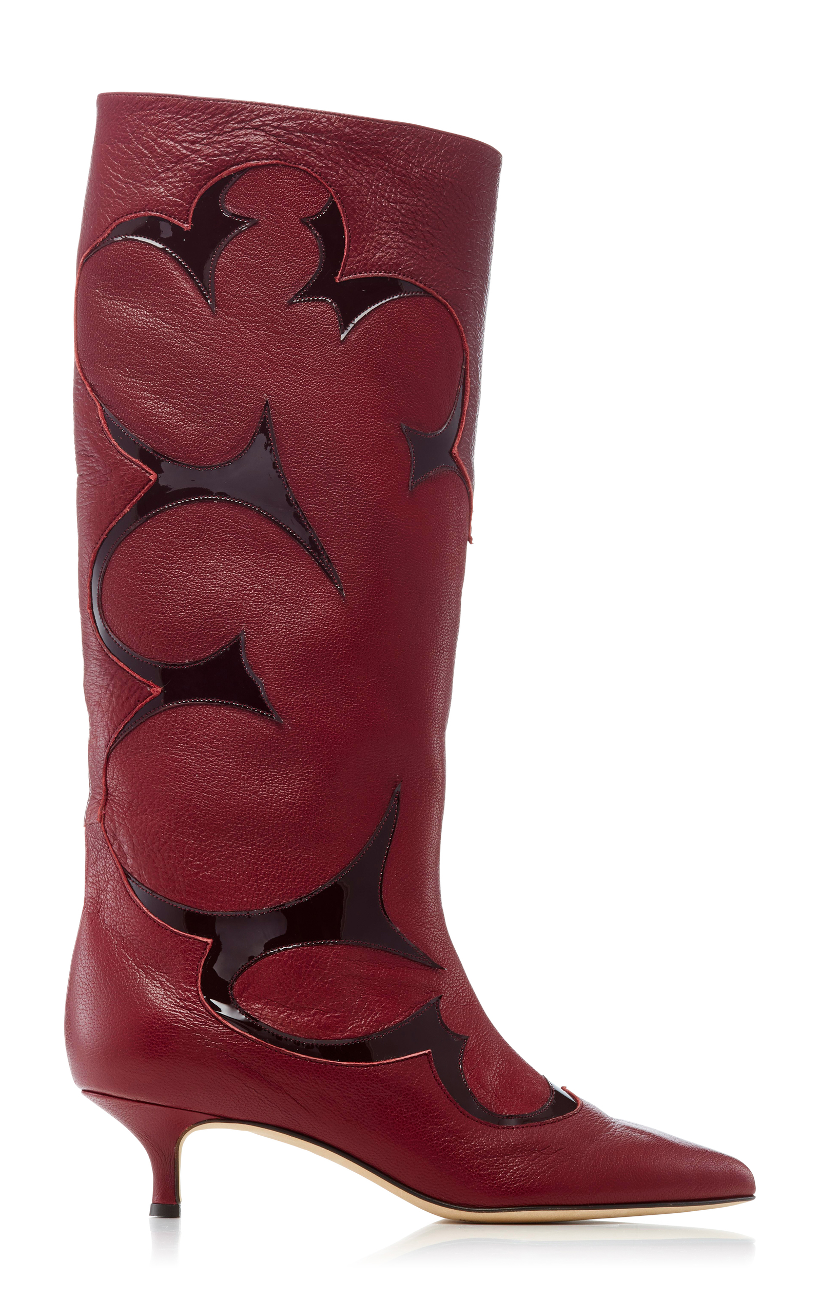 JAGGER PATENT-TRIMMED LEATHER BOOTS