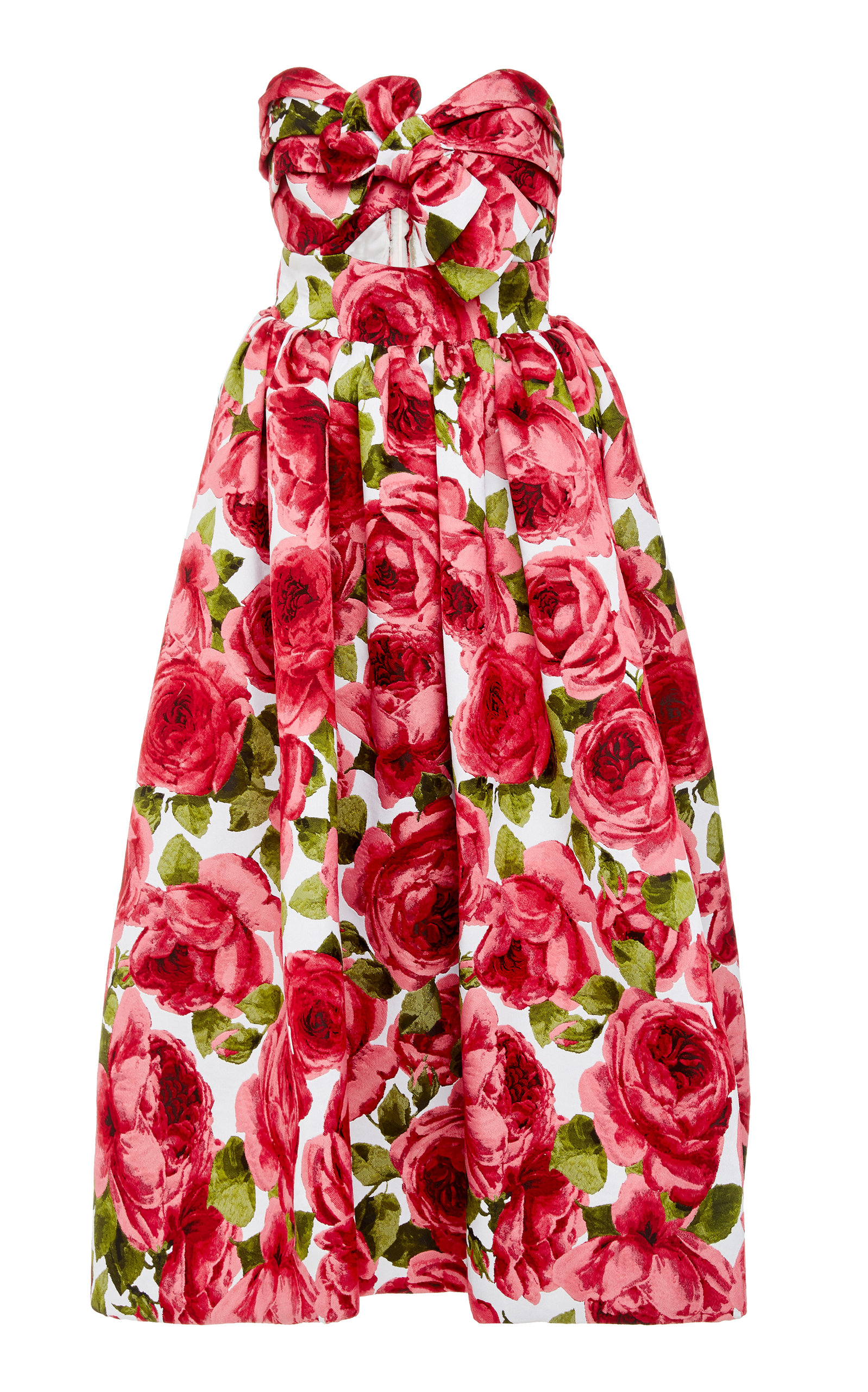 Strapless Floral Print Jacquard Midi Dress by Michael Kors