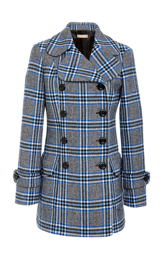 MICHAEL KORS | Michael Kors Collection Double-Breasted Plaid Wool-Blend Coat | Goxip