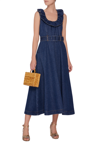 8e1fb3a96f Sleeveless Belted Denim Midi Dress by Co